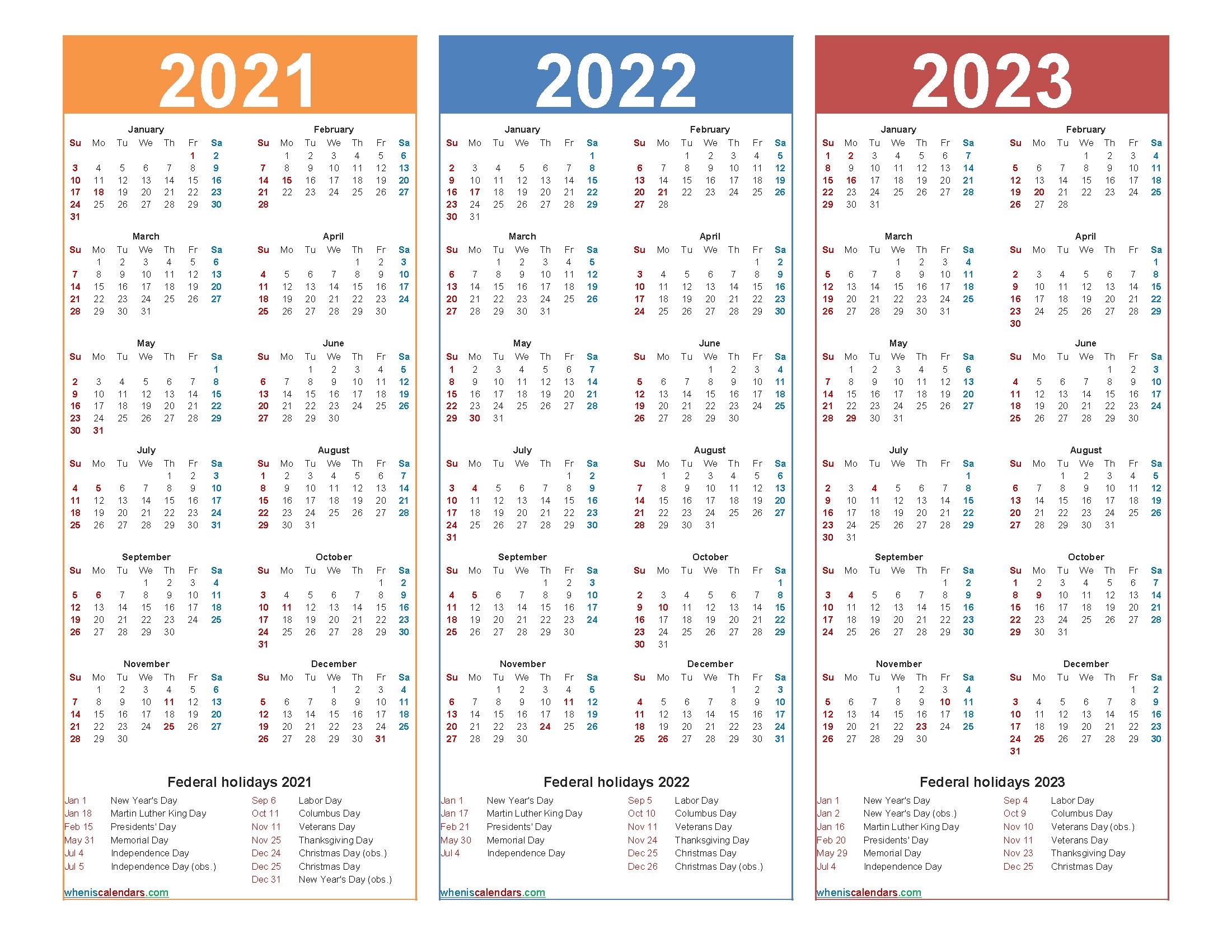 Printable 2021 2022 And 2023 Calendar With Holidays