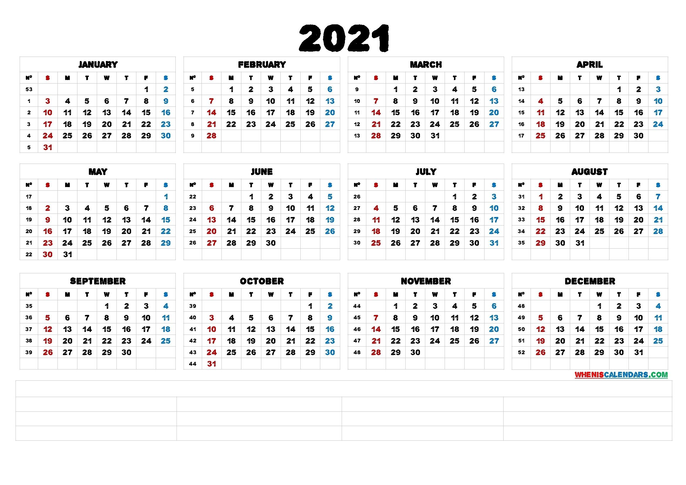 Printable 2021 Calendaryear (6 Templates)