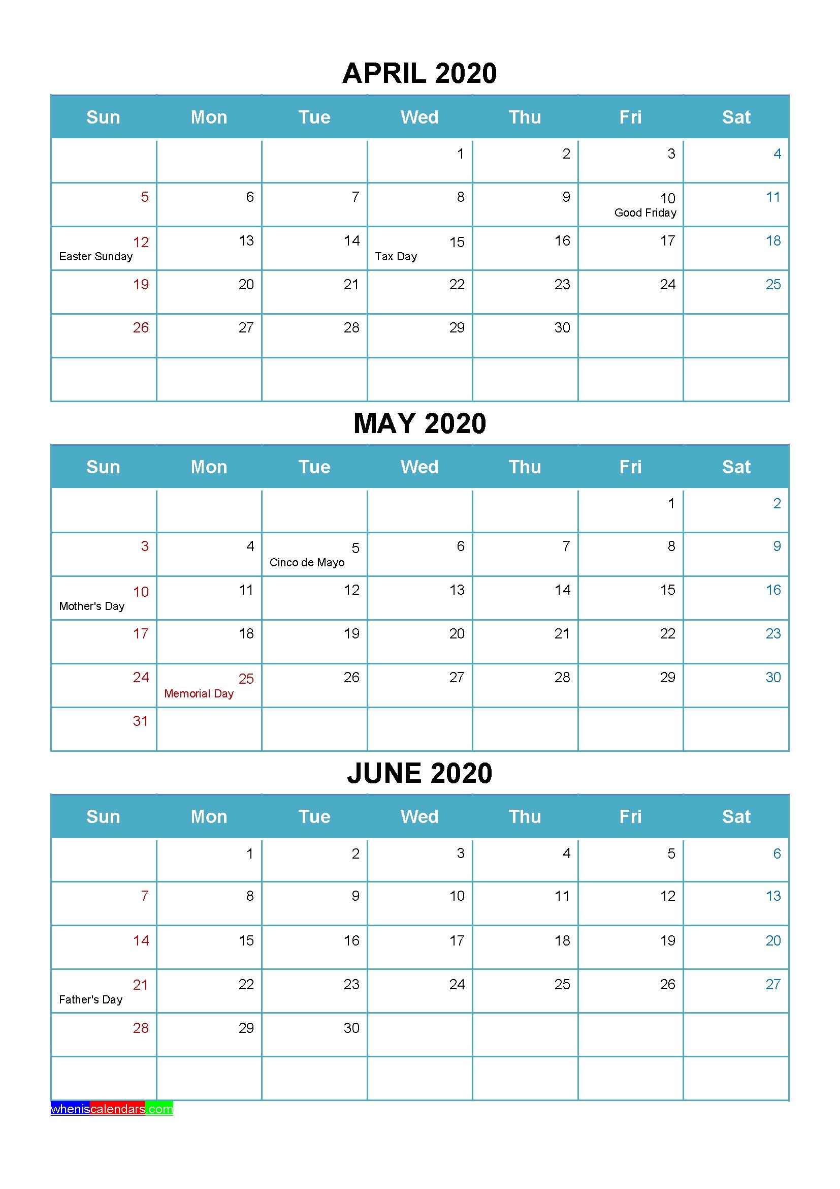 Printable April May June 2020 Calendar Word, Pdf – Free with Calendar For Quarterly 2020 Printable