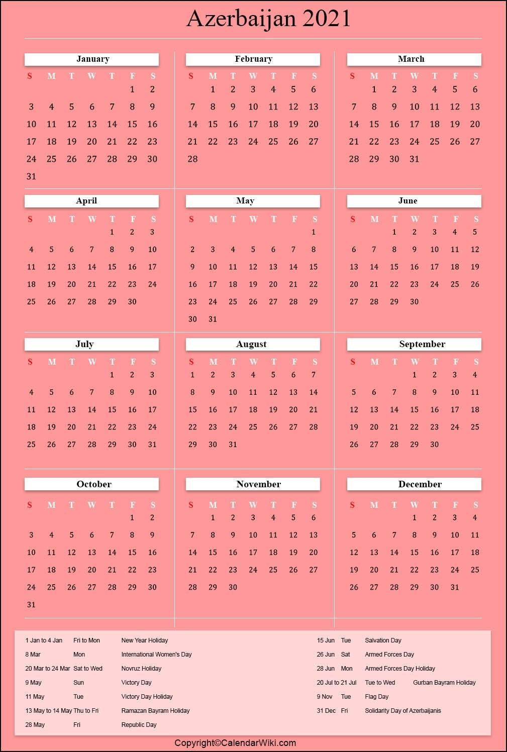 Printable Azerbaijan Calendar 2021 With Holidays [Public