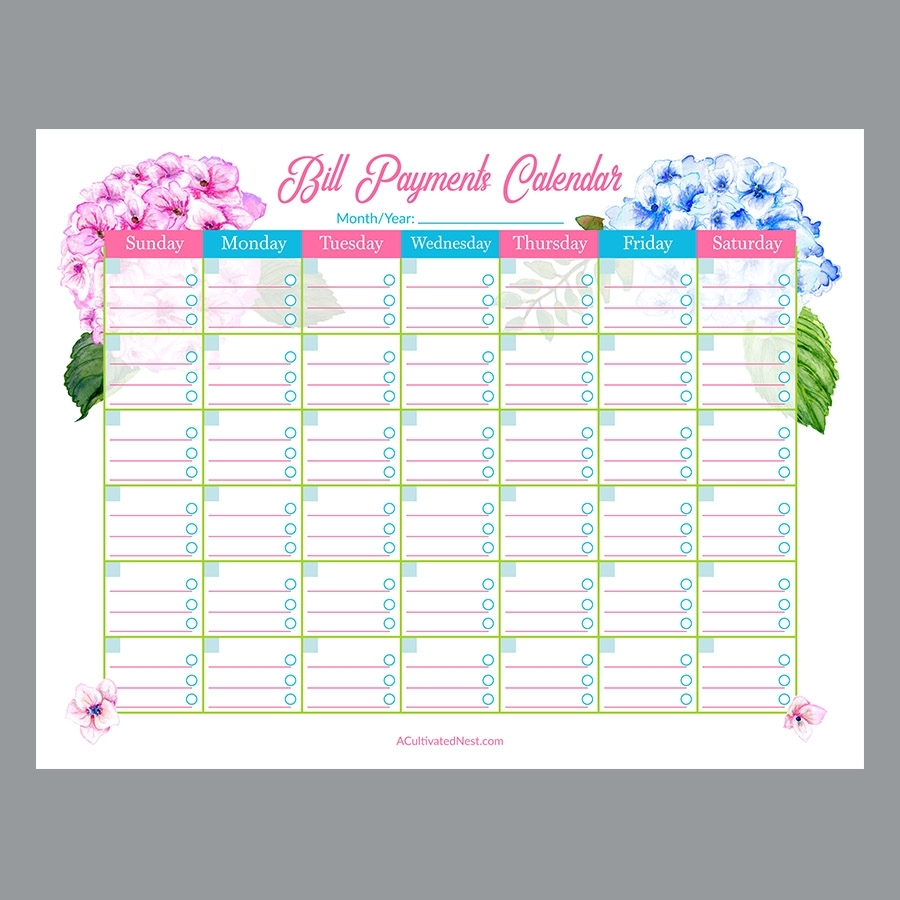 Printable Bill Payments Calendar- Hydrangeas