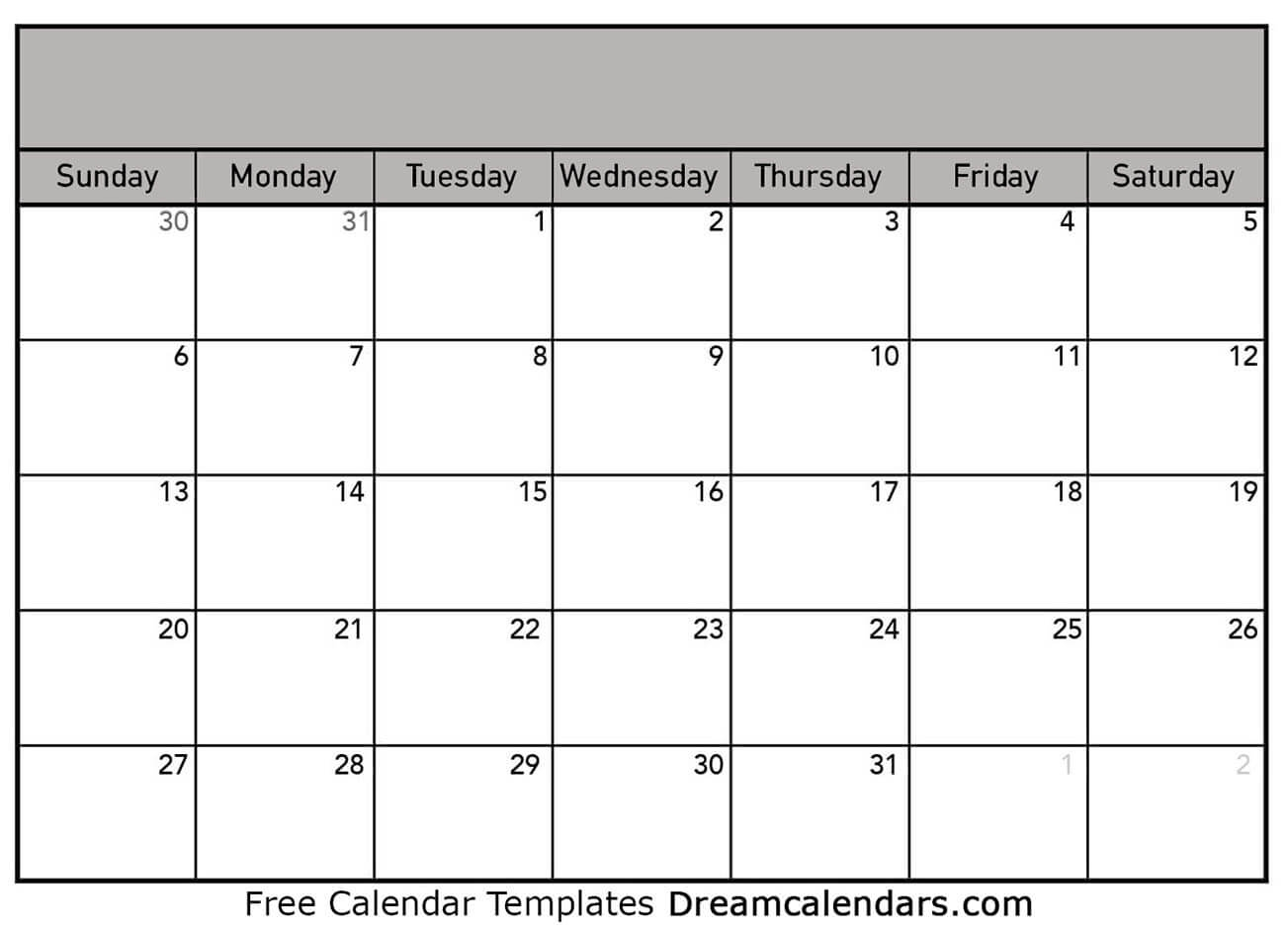 Printable Blank Calendar 2021 | Dream Calendars pertaining to Blank Calendars With Days Of The Week Not Numbered