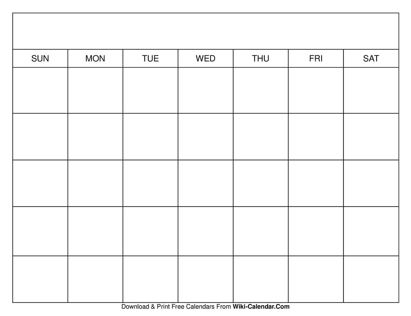Printable Blank Calendar Templates throughout Blank Calendars With Days Of The Week Not Numbered
