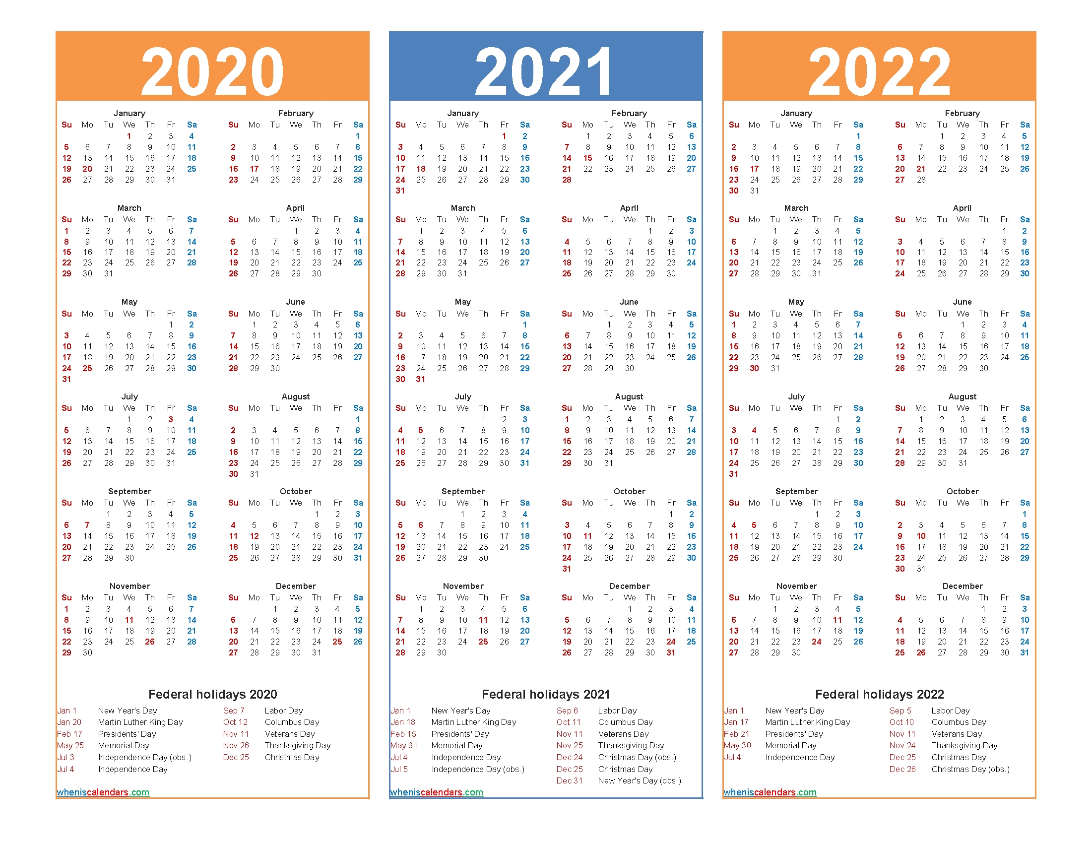 Printable Calendar 2020 2021 2022 With Holidays – Free with regard to 2020 2021 2022 Calendar Printable