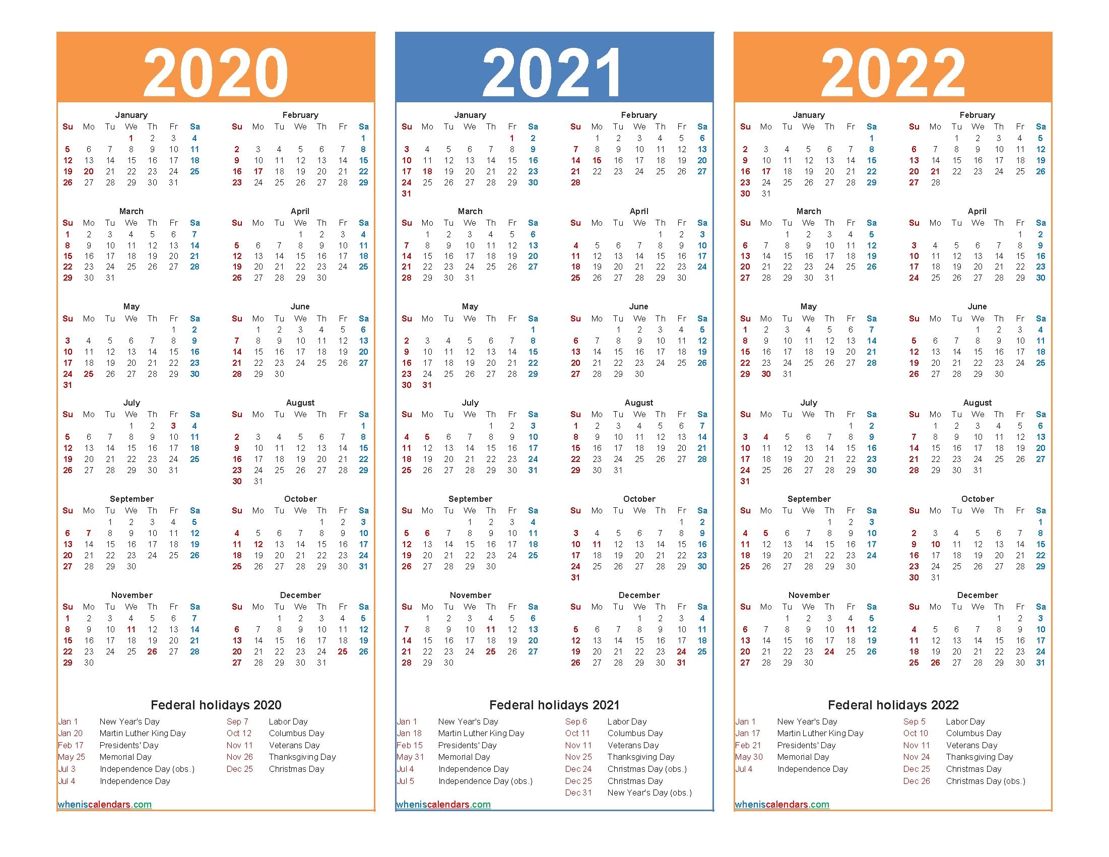 Printable Calendar 2020 2021 2022 With Holidays – Free within Printable Calendar 2020 2021 2022