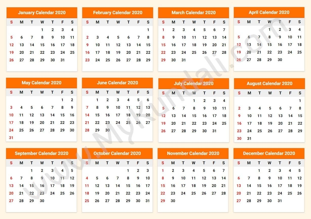 Printable Calendar 2020 - Download Free Printable Calendar 2020 with Fiscal Year Calendar 2020 Printable Bangla