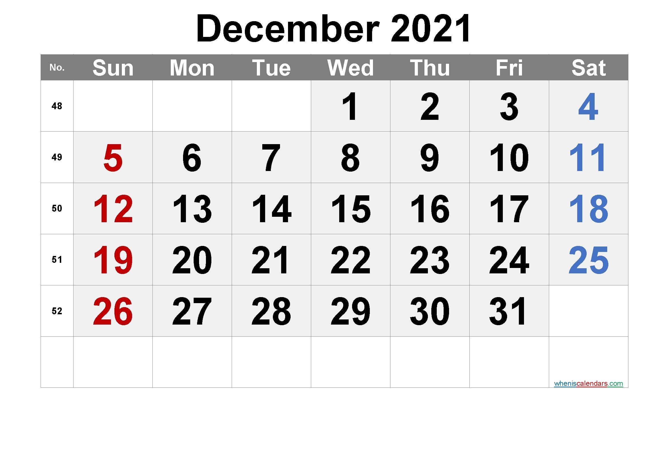Printable Calendar 2021 December - Free Printable 2021
