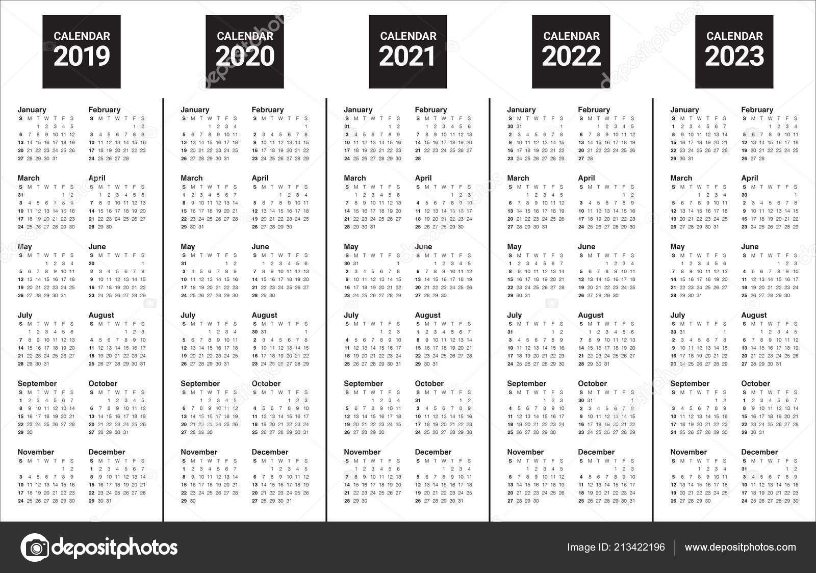 Printable Calendar For 2019/2020/2021/2022/2023 In 2020 pertaining to Yearly 2019 2020 2021 2022 2023
