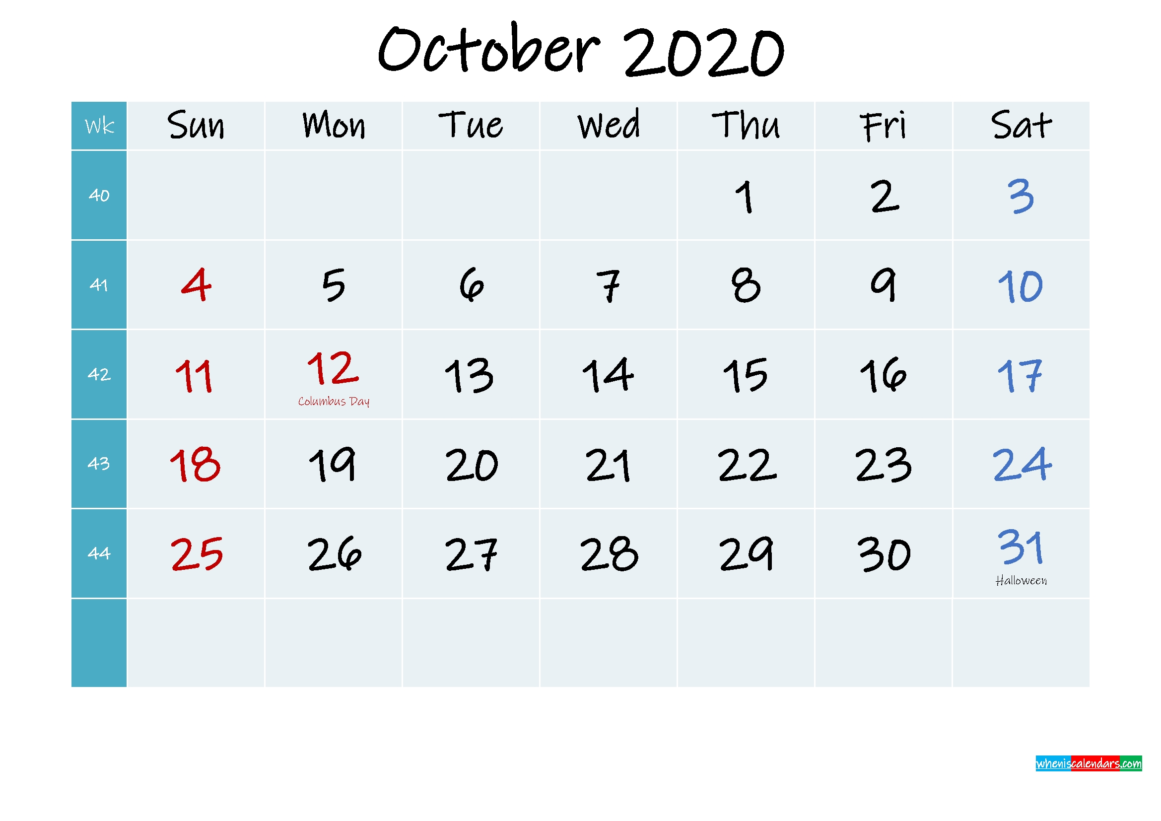 Printable Calendar October 2020 - Template No.ink20M322