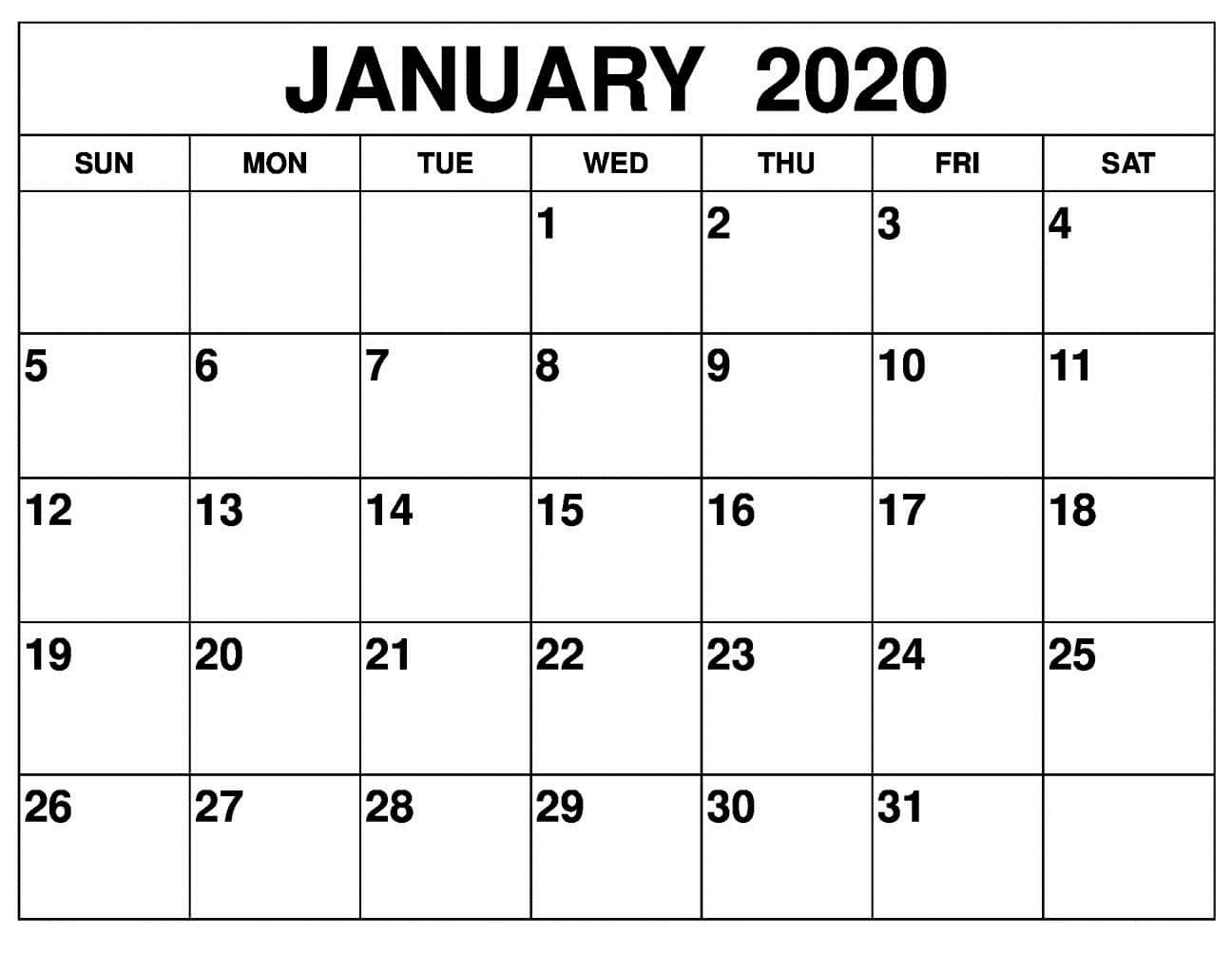Printable Calendar - Printablecalendar.pictures regarding 2020 Free 12 Month Printable Monthly Calendar