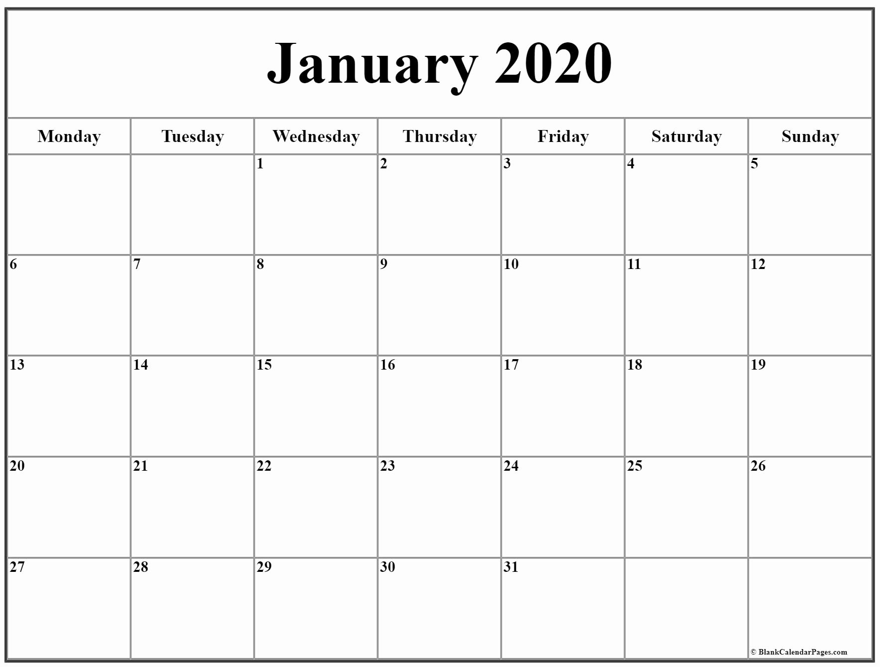 Printable Calendar Starting With Monday In 2020 | Calendar