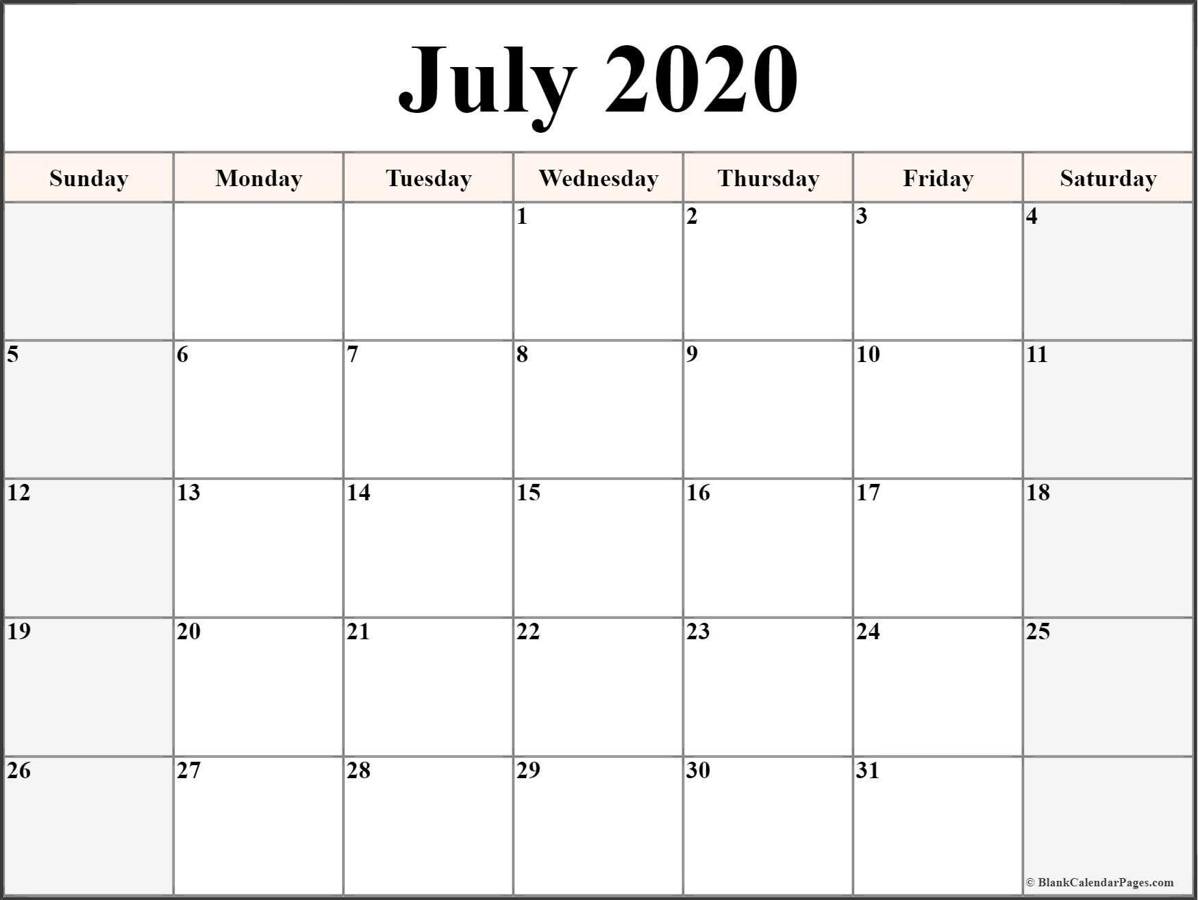 Printable Calendar Templates 2020 In 2020 | Blank Calendar in 2020 Calendar To Fill In