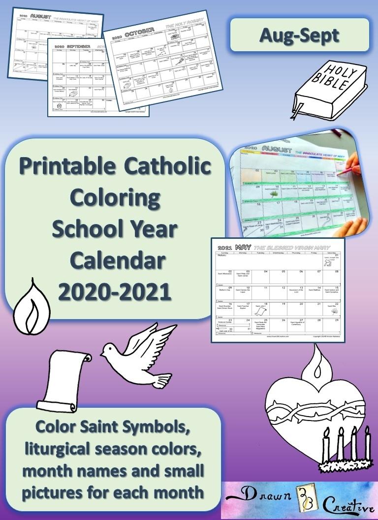 Printable Catholic School Year Calendar To Color