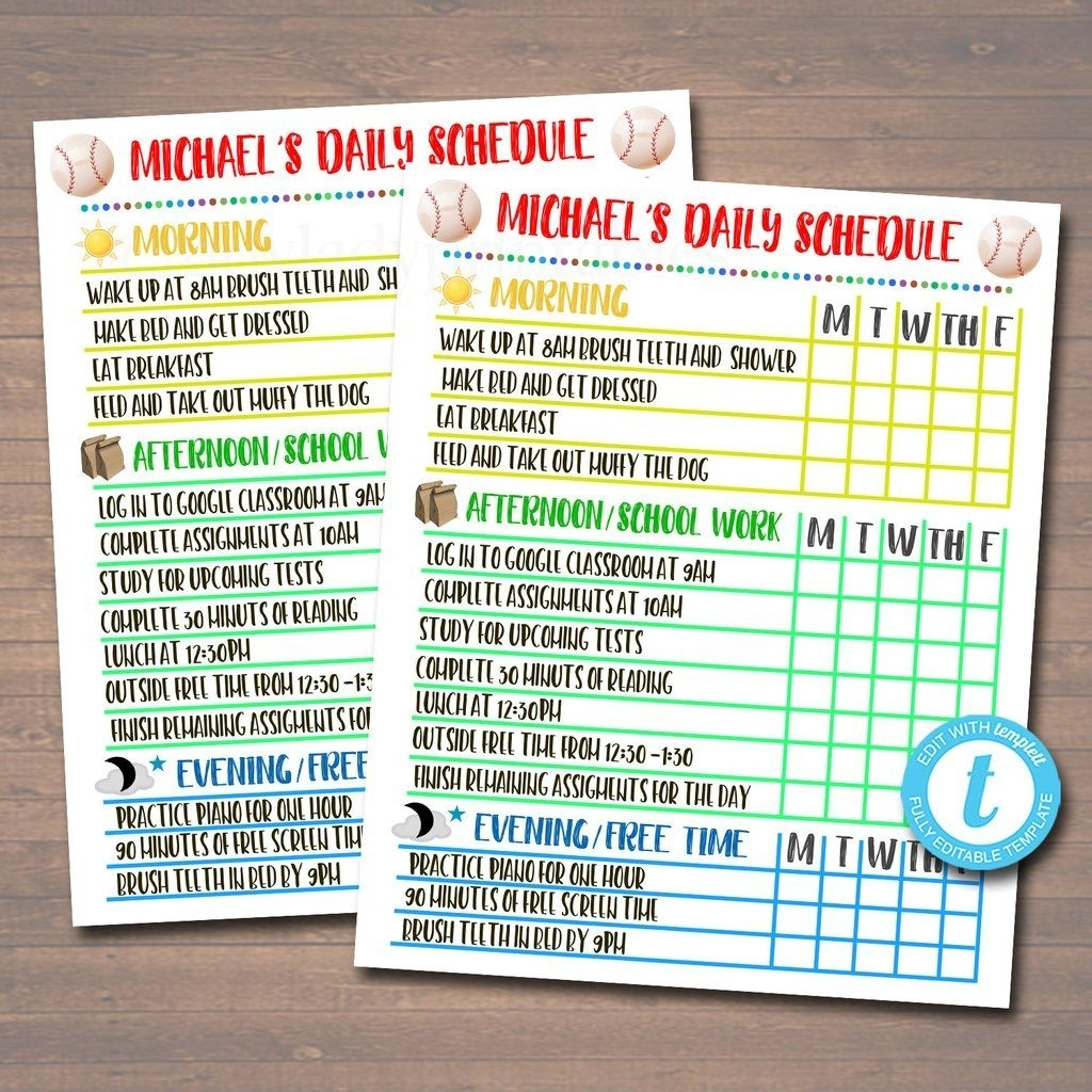 Printable Daily Schedule - Homeschool Subject Checklist