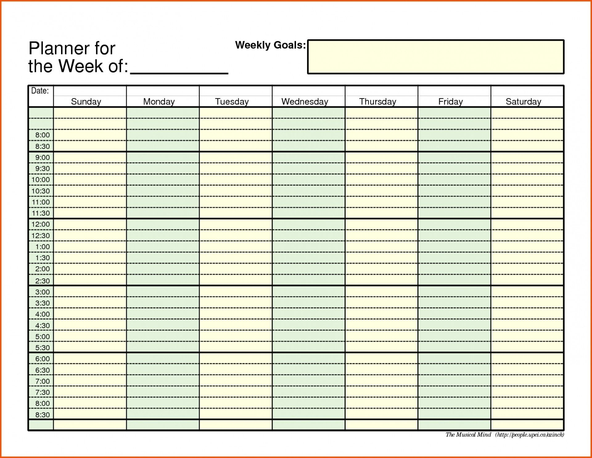 Printable Daily Schedule With Time Slots Blank Weekly Times