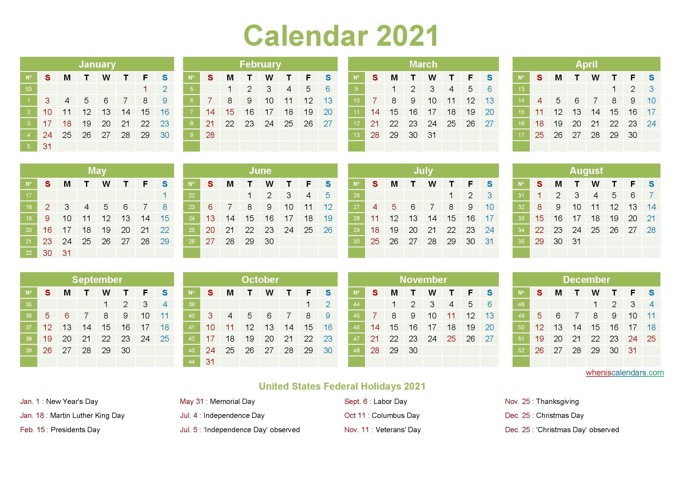 Printable Editable Calendar 2021 - Template No.ep21Y10