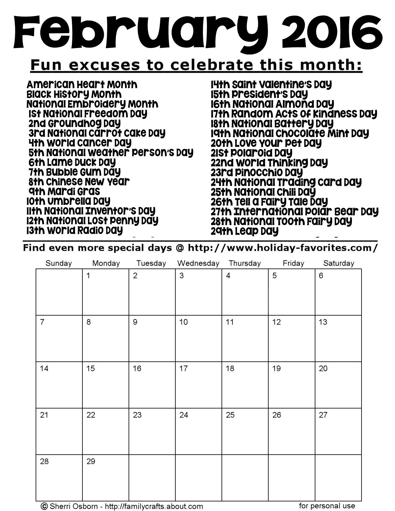 Printable February 2016 Special Days Calendar Page | Holiday