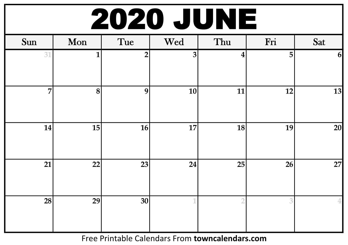 Printable June 2020 Calendar - Towncalendars