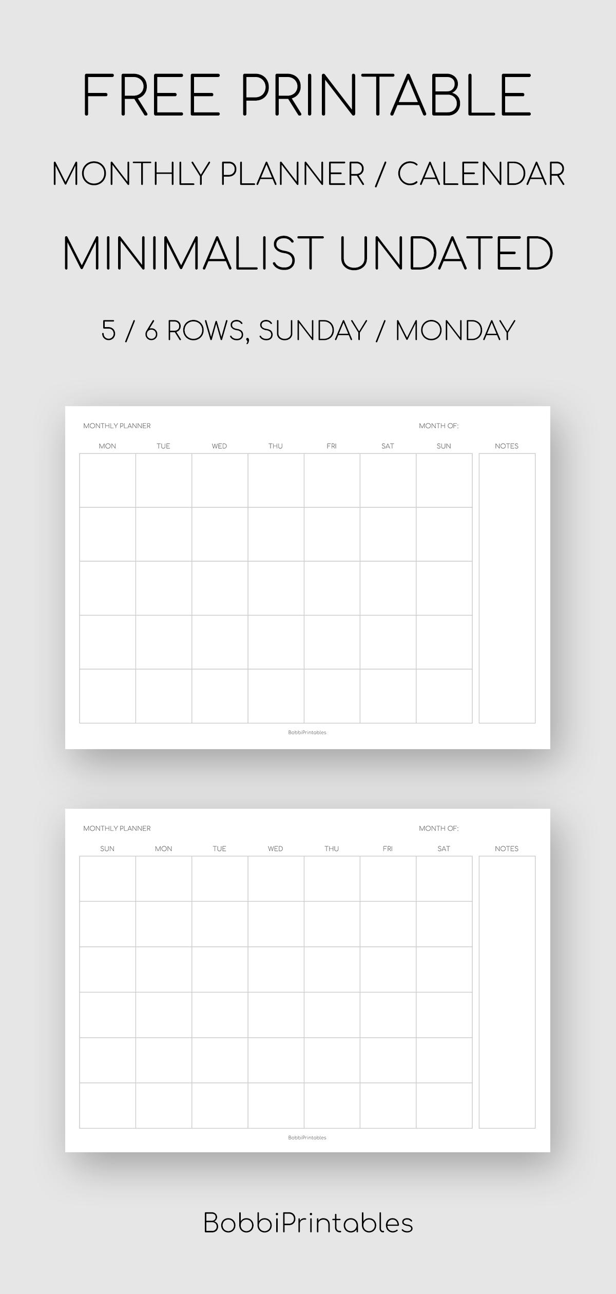Printable Minimalist Monthly Planner / Undated Calendar within Undated Free Monthly Calendar Printable Free