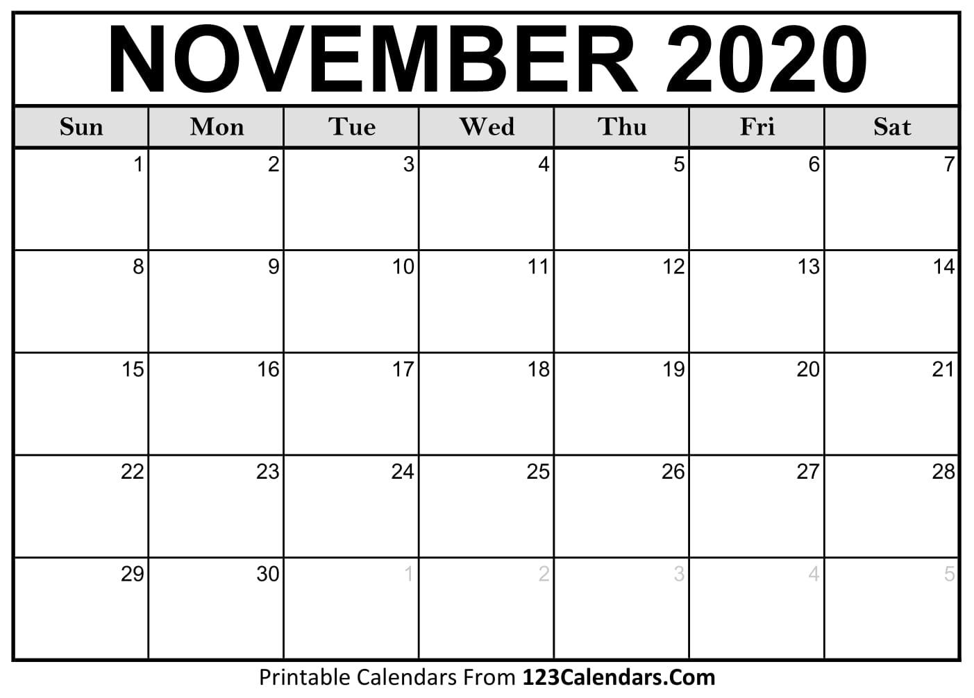 Printable November 2020 Calendar Templates | 123Calendars throughout 2020 Calendar To Fill In