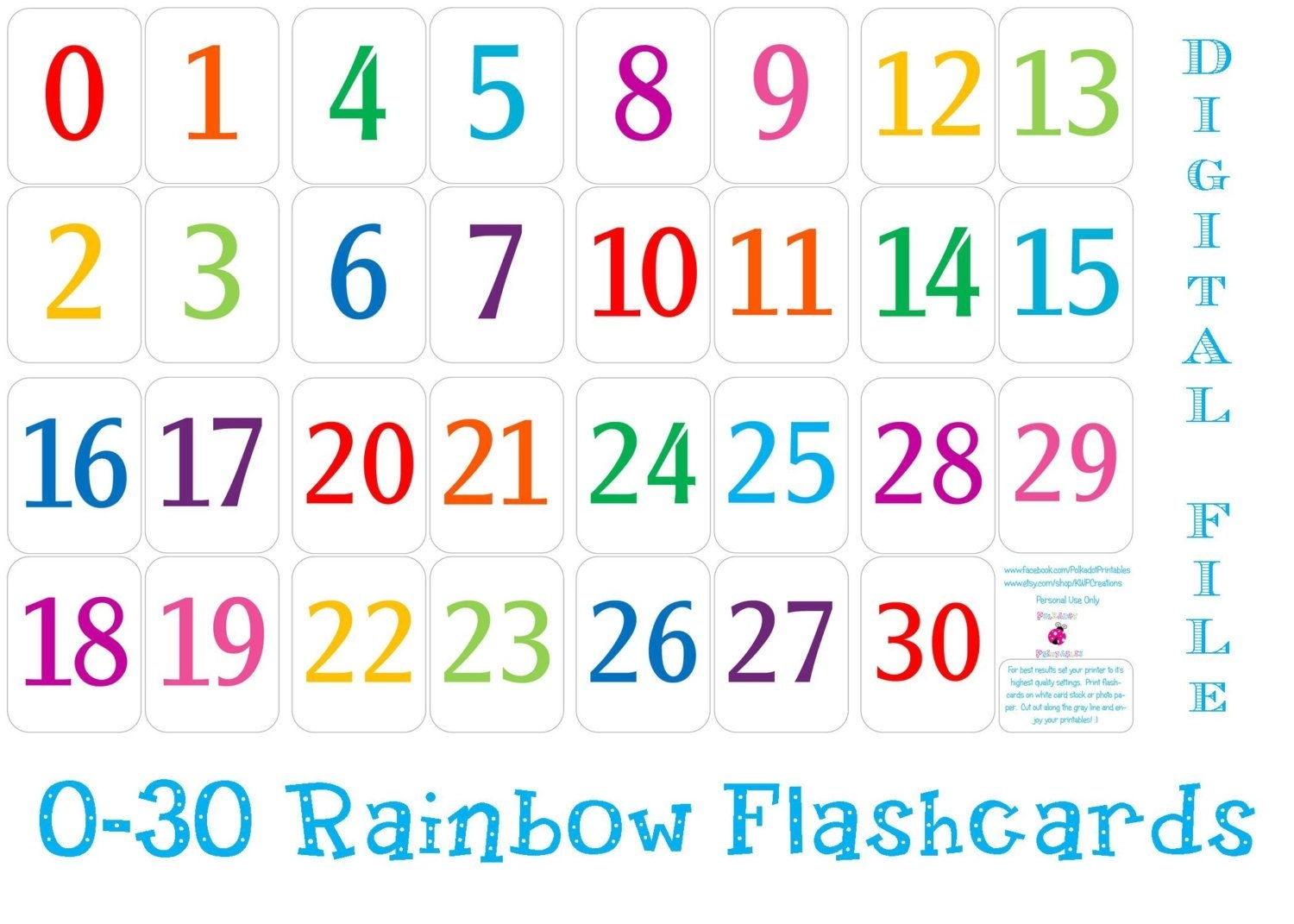 Printable Number Cards 1 30 | Free Printable Numbers