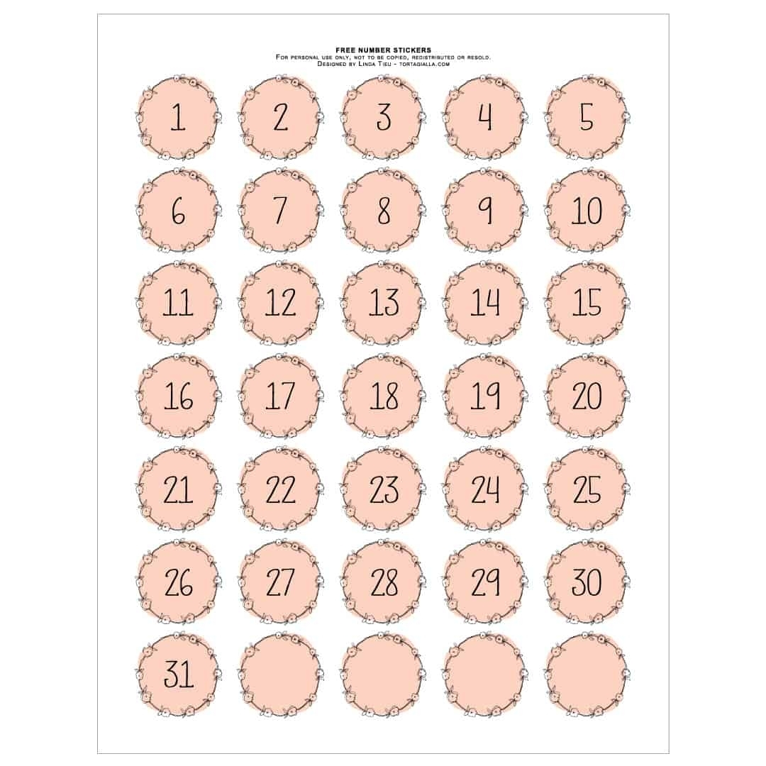 Printable Numbers - Pretty Pink Wreath Style | Tortagialla