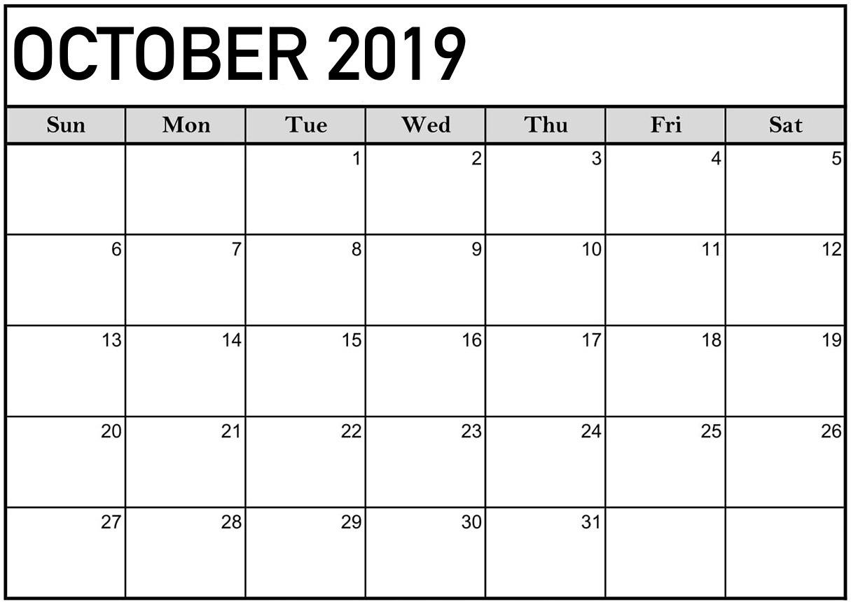 Printable October Calendar For 2019 Pdf - 2019 Calendars For intended for Fill In Calendar 2019 Pdf
