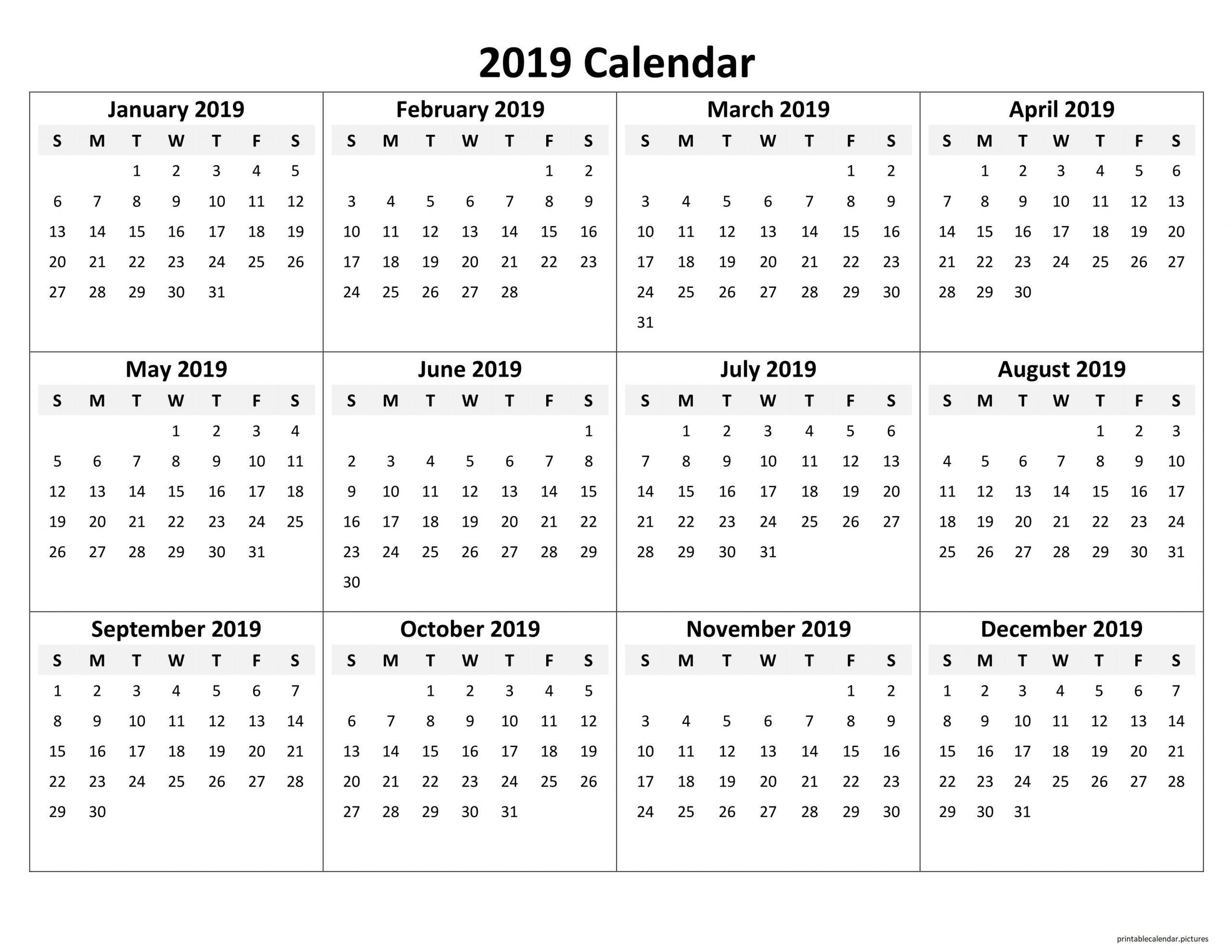 Printable Yearly Calendar 2019 | Excel Calendar Template in Fill In Calendar 2019 Printable