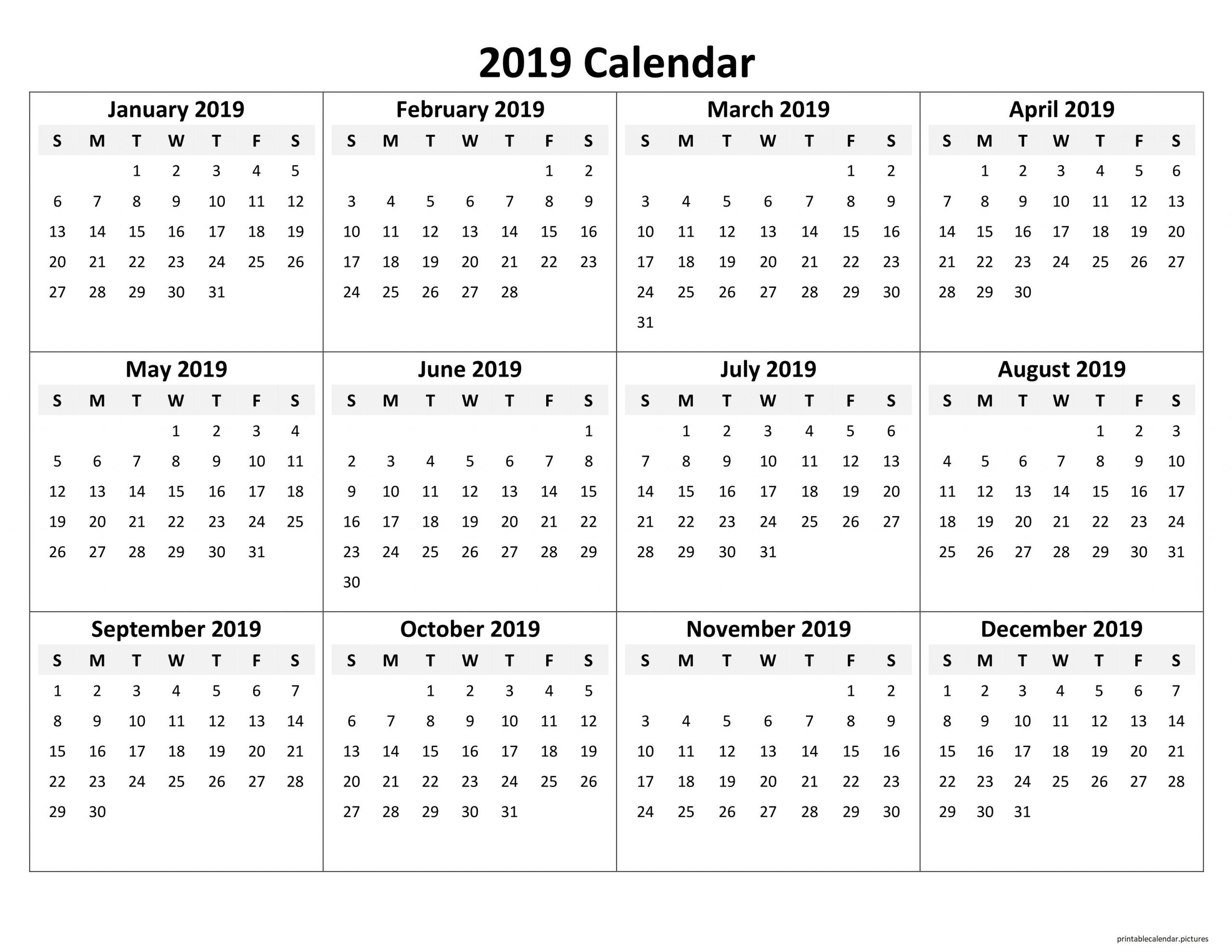 Printable Yearly Calendar 2019 | Excel Calendar Template intended for Fill In Calendar 2019 Pdf