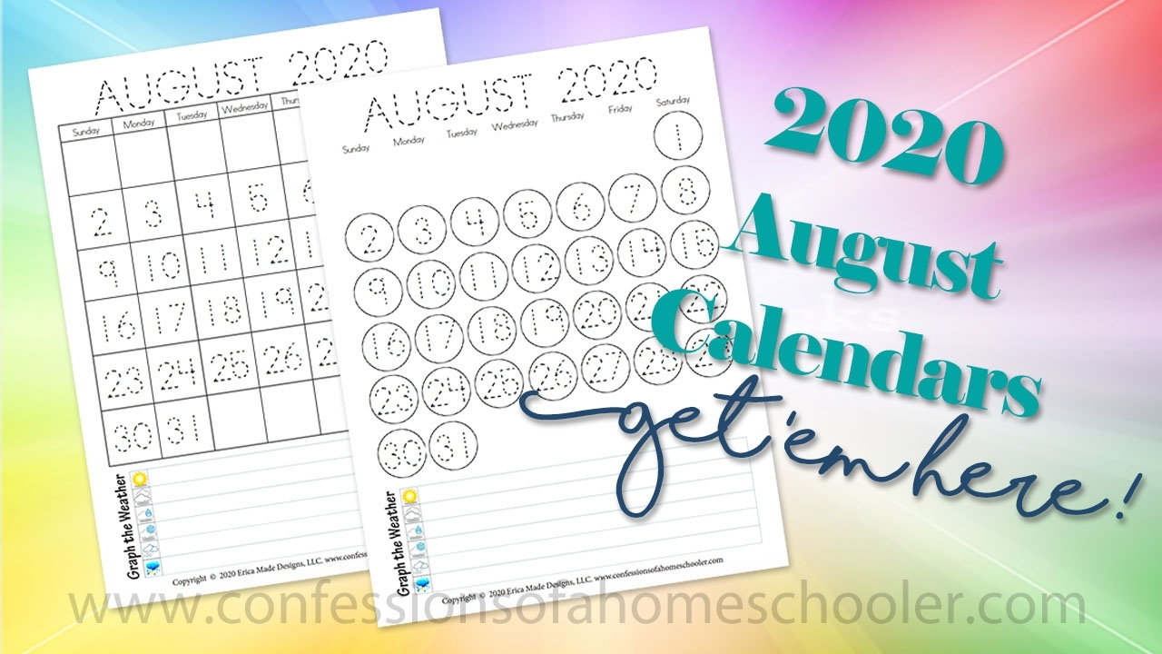 Printables Archives - Confessions Of A Homeschooler regarding Free Kindergarten Calendar Template 2019