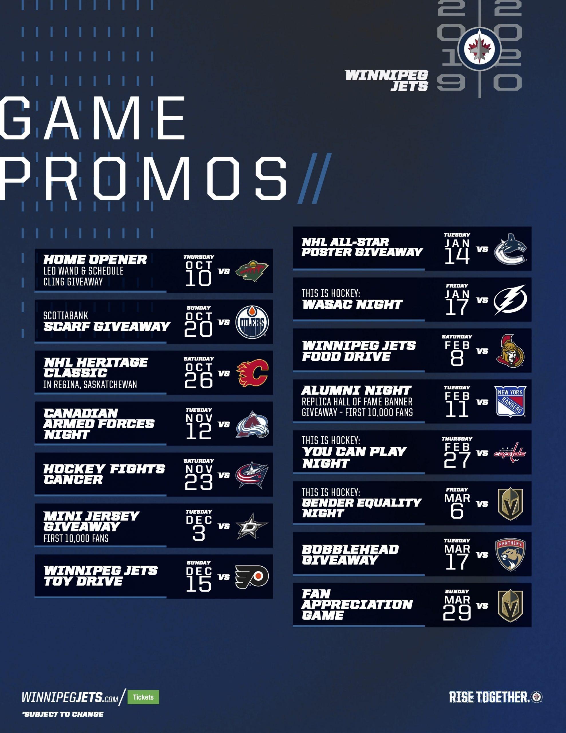 Promotional Games | Winnipeg Jets in Nashville Predators Printable Calendar Schedule