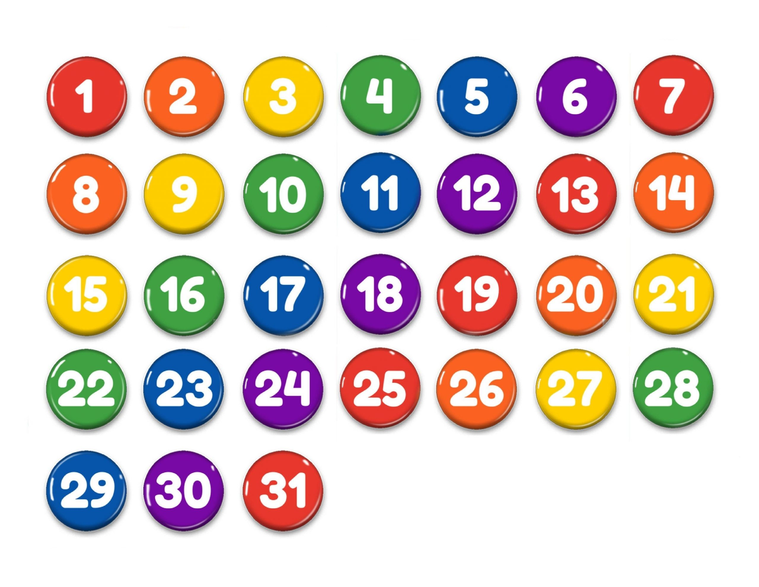 Rainbow Perpetual Calendar 1Numbers 1-31-Magnets-Days | Etsy