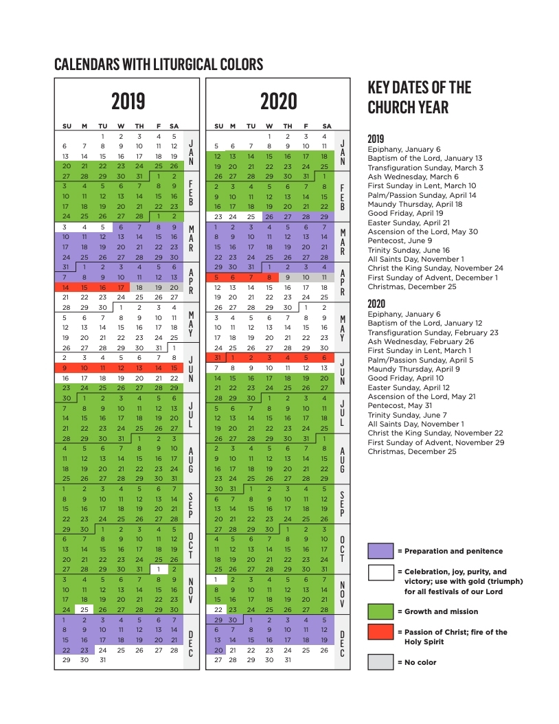 Rca Liturgical Calendar | Reformed Church In America regarding Printable Presbyterian 2020 Liturgical Color Calendar