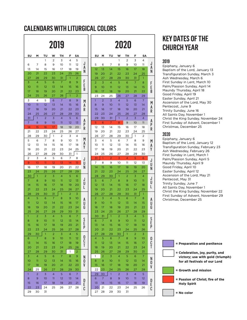 Rca Liturgical Calendar   Reformed Church In America within Liturgical Calendar For 2020 Printable