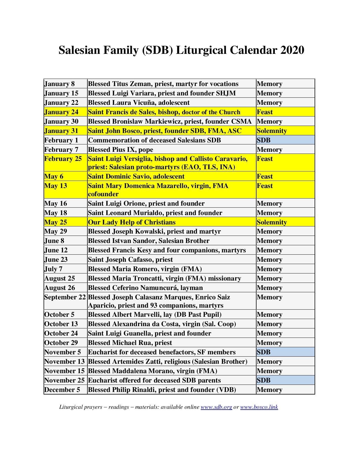 Resource - Salesian Liturgical Calendar 2020 intended for 2020 Catholic Liturgical Calendar Pdf
