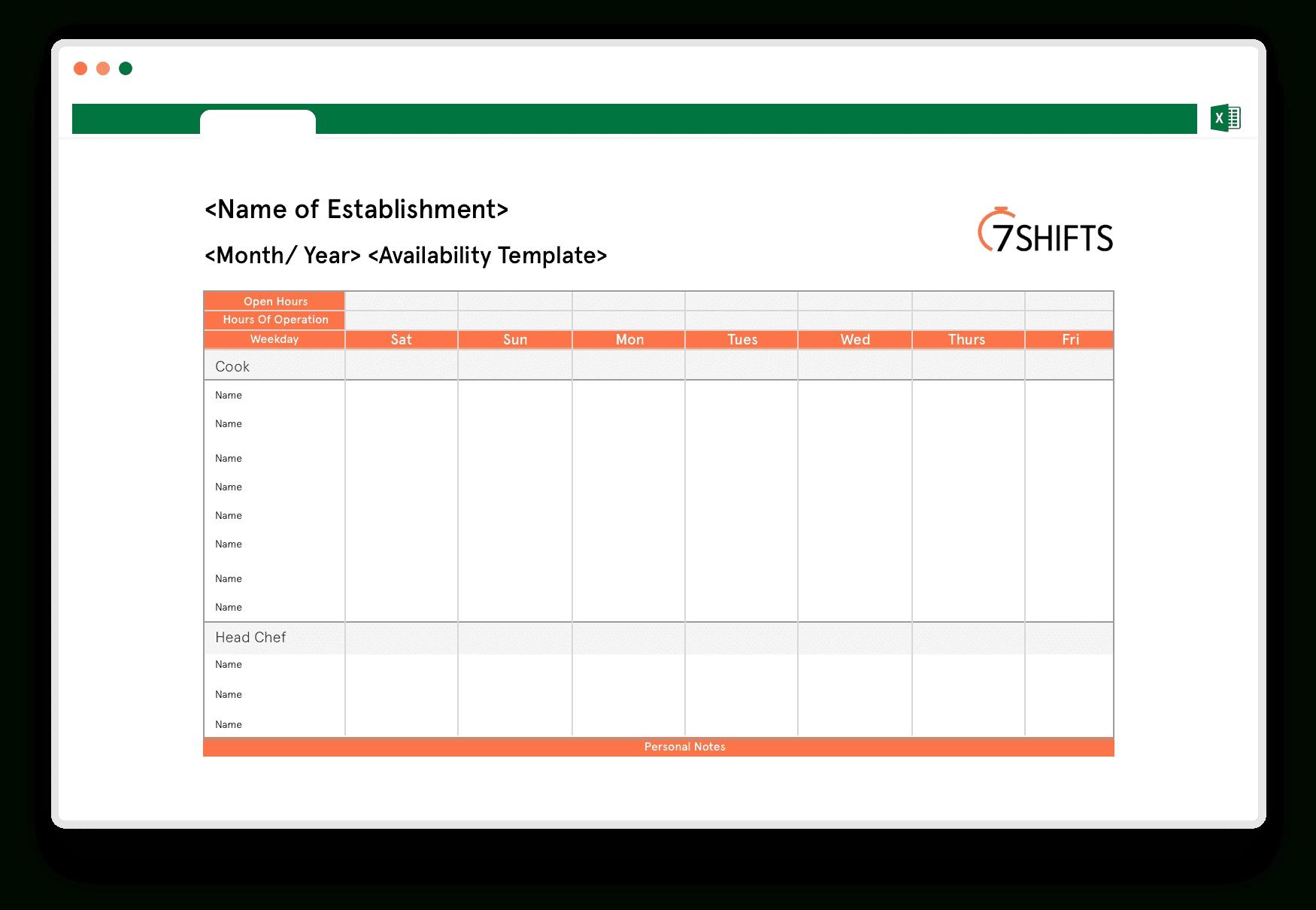 Restaurant Schedule Excel Template | 7Shifts