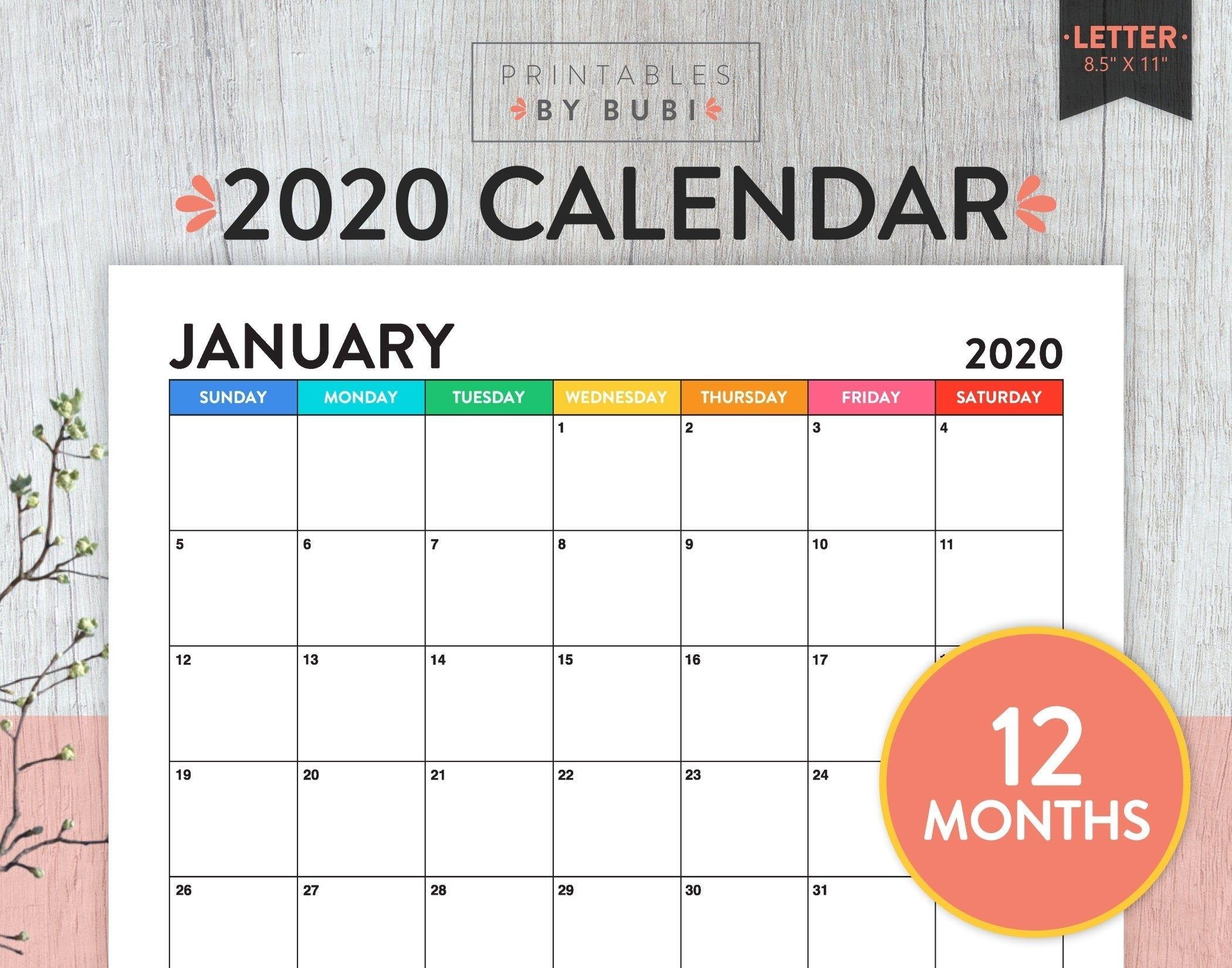 Sale! Printable Monthly Calendar 2020, Calendar Printable intended for 2020 Free 12 Month Printable Monthly Calendar