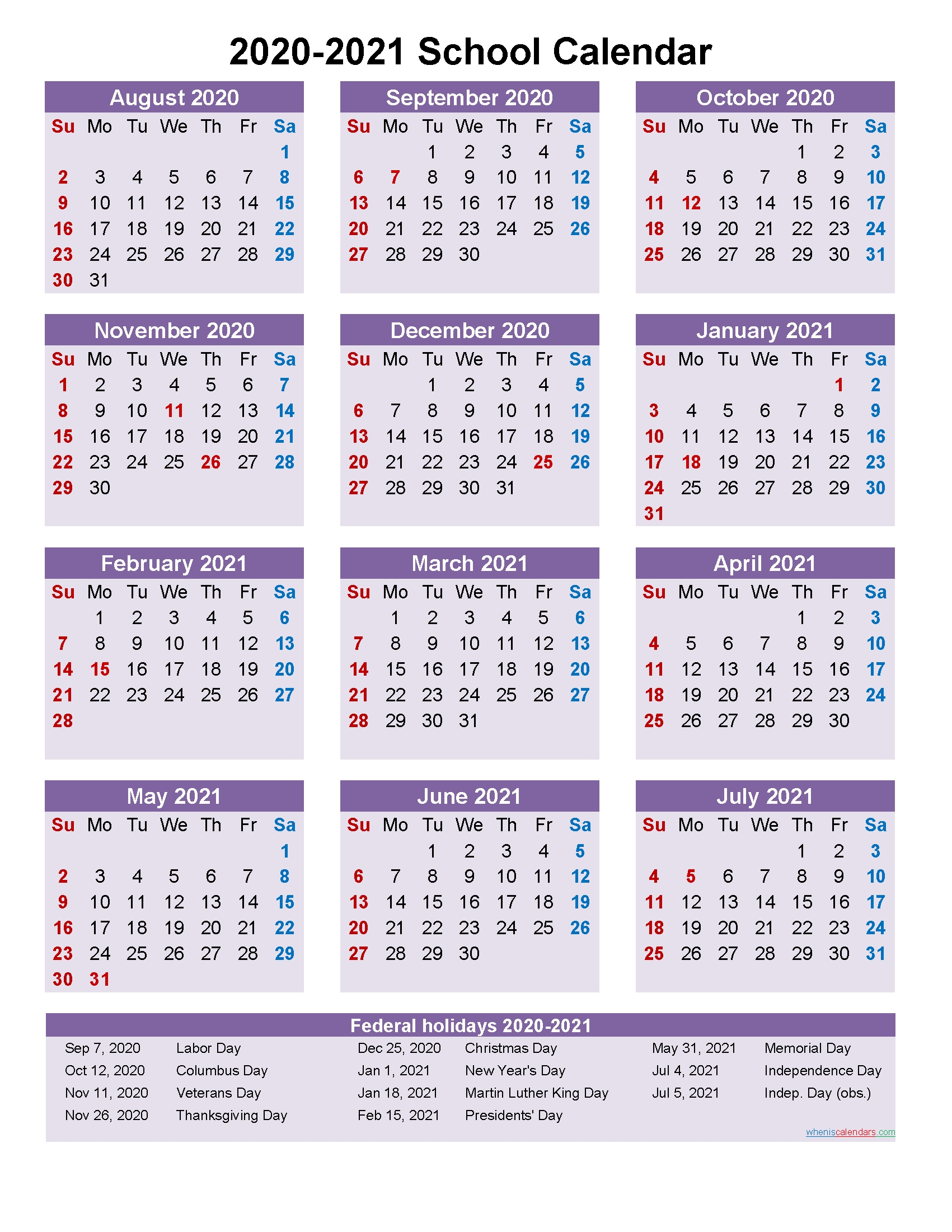 School Calendar 2020 And 2021 Printable (Portrait)- Template throughout Free Printable Year At A Glance Calendars No Download 2020
