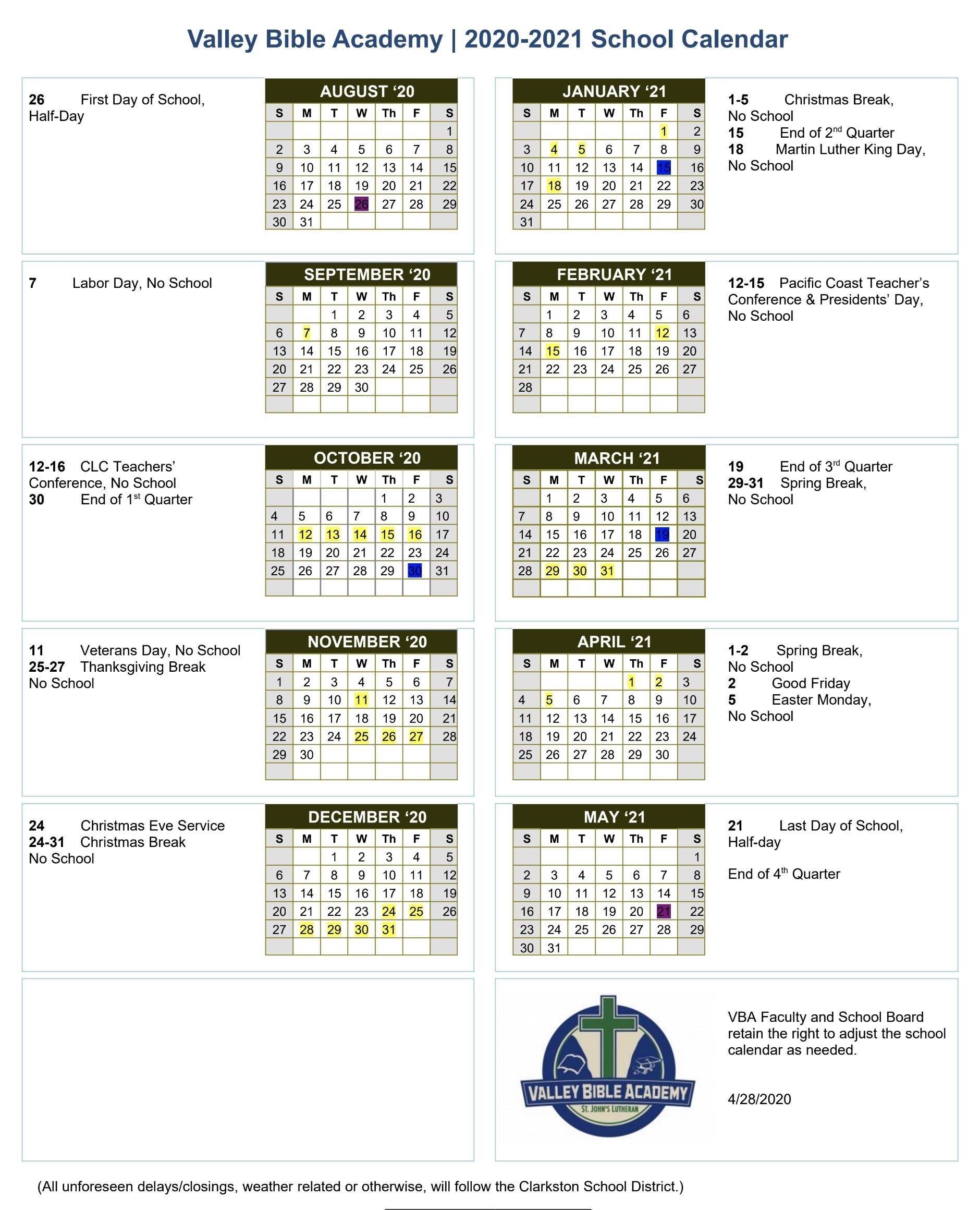 School Calendar | Valley Bible Academy - St. John'S Lutheran