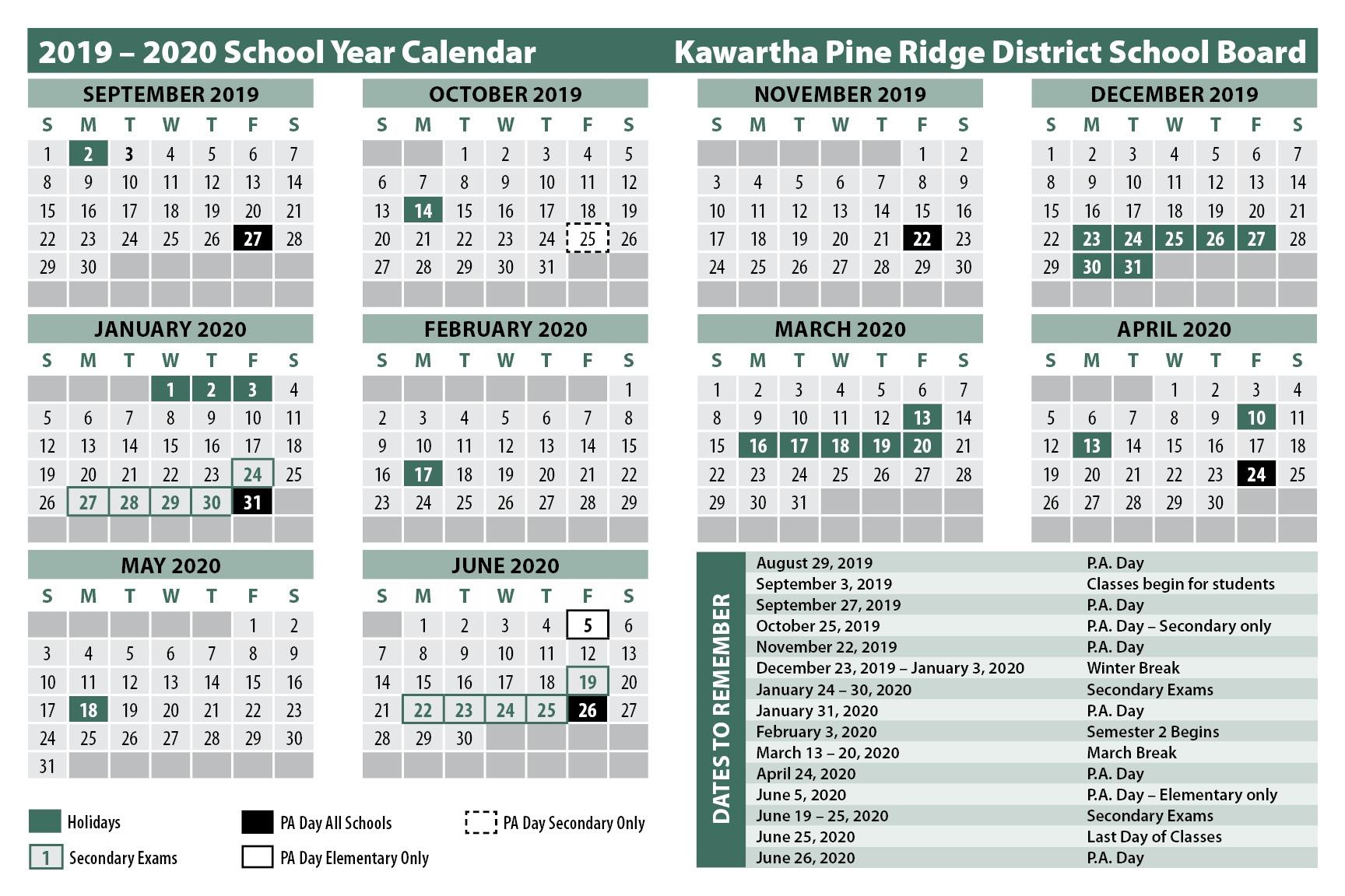 School Calendars throughout Financial Calendar 2019/2020 Week Number 25