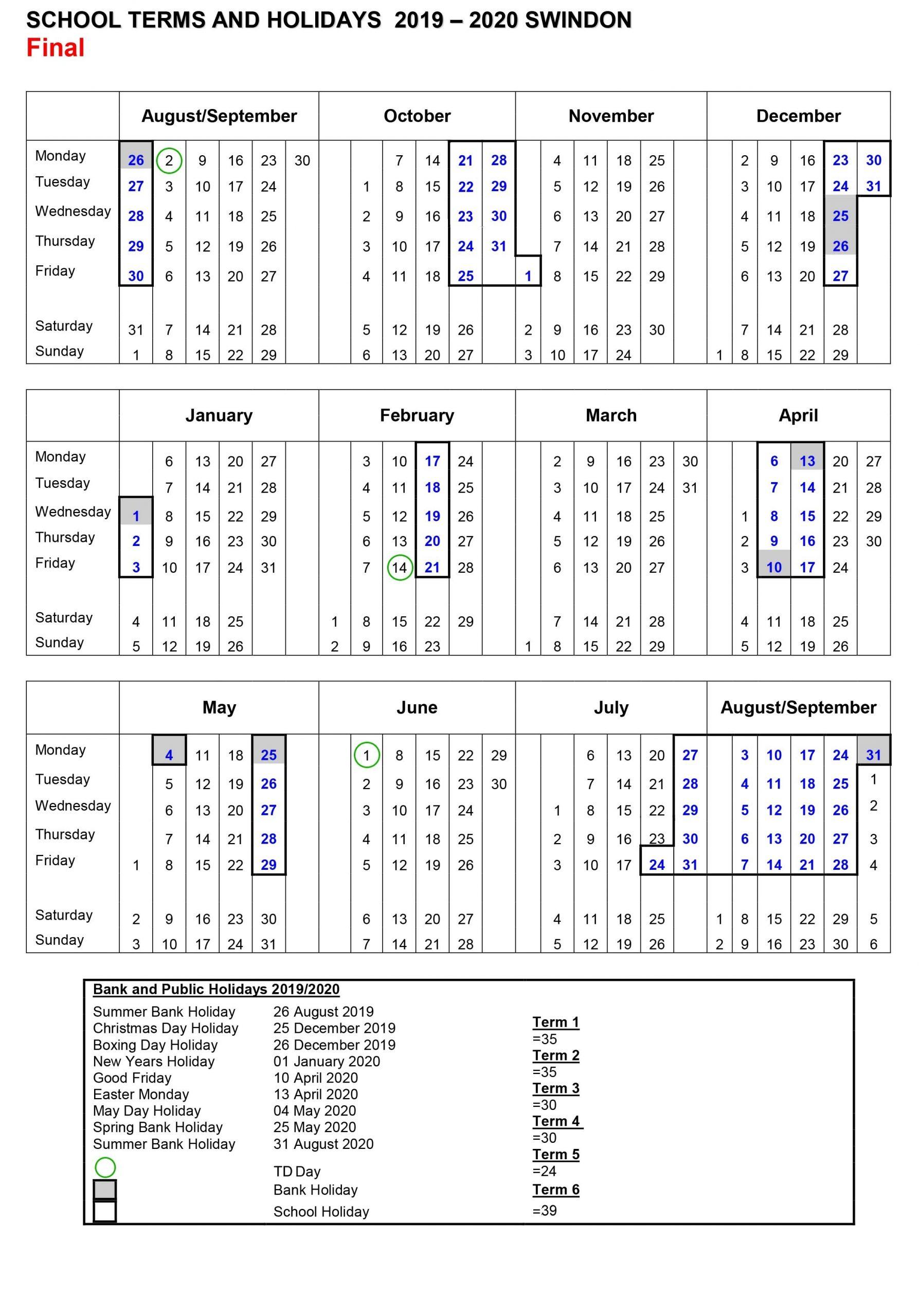 School Holidays: 2019-2020 | Westrop Primary School regarding School Calendar For Pshe Events 2019-2020
