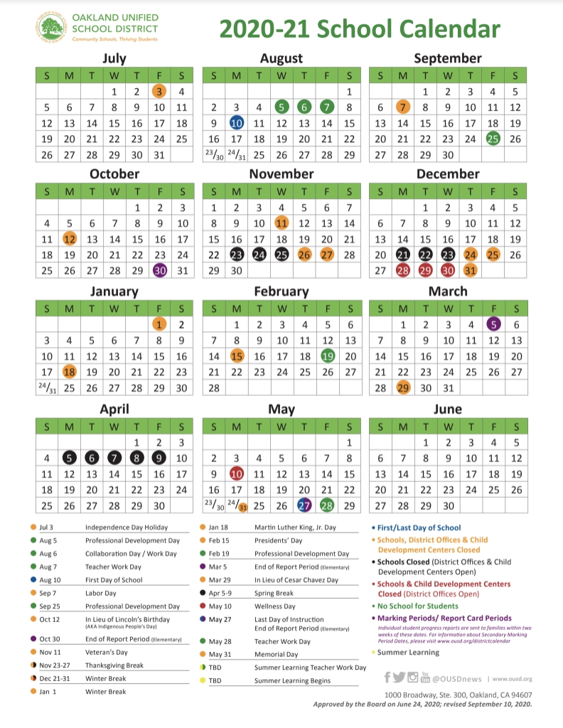 School Year Calendar / 2020-21 School Year Calendar inside Uc Berkeley School Calendar 2019 2020