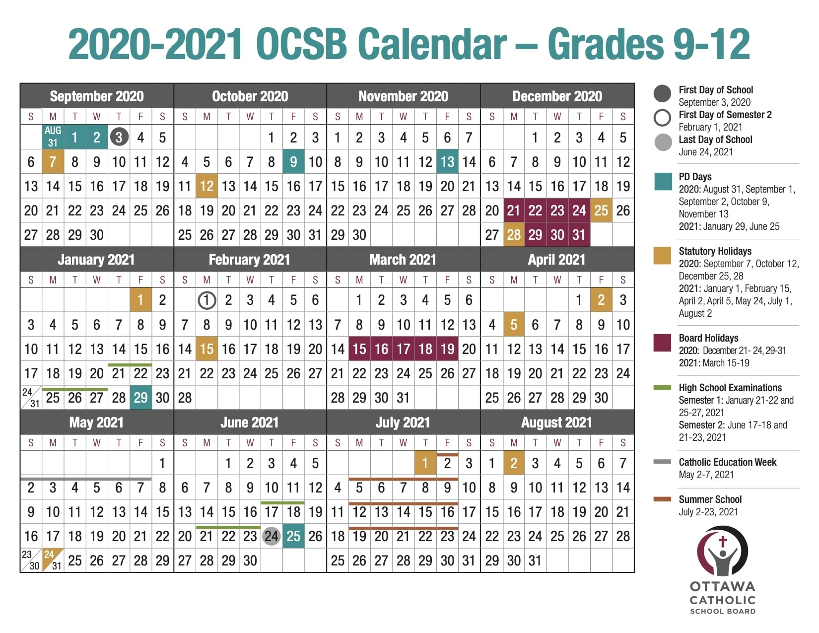 School Year Calendar From The Ocsb with Word Church Events Calender For 2020