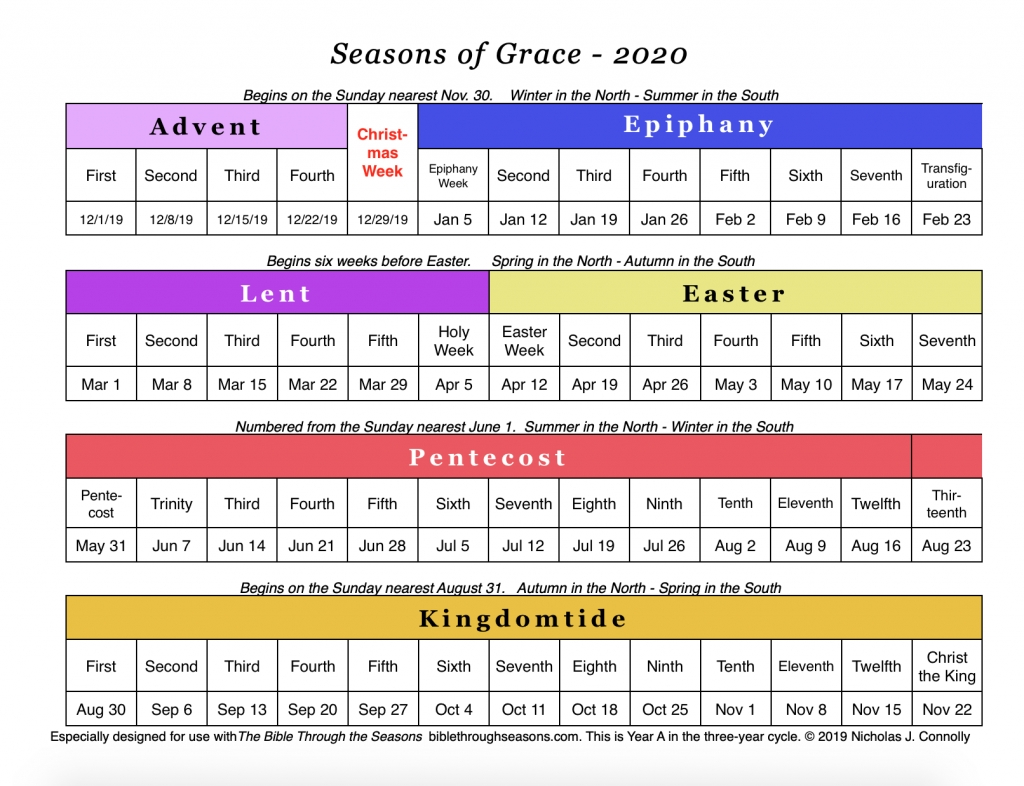Seasons Of Grace: Liturgical Calendar – Matawan United with regard to The Year 2020 Liturgical Calendar