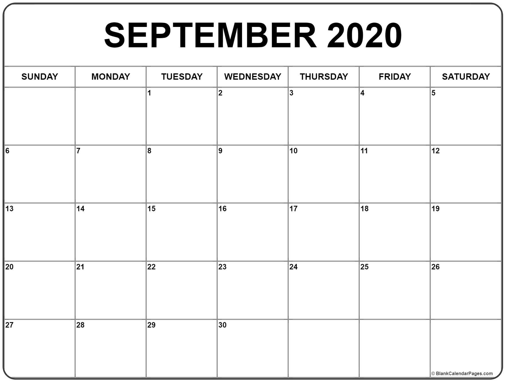 September 2020 Calendar 51 Calendar Templates Of 2020 with regard to Printable Chalander With Space To Right For 2020