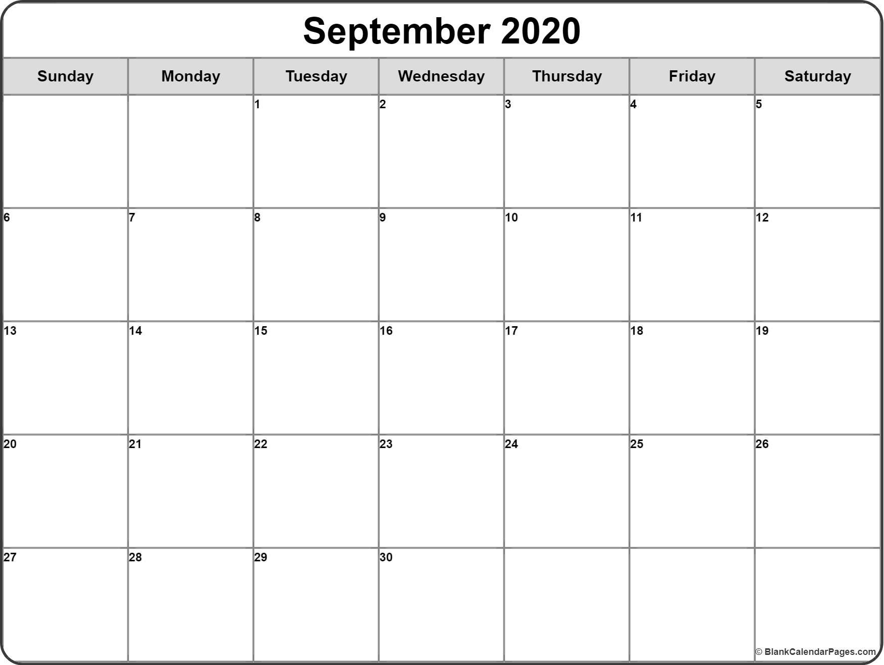 September 2020 Calendar | Free Printable Monthly Calendars for Printable Monthly Calendar 2020 Free