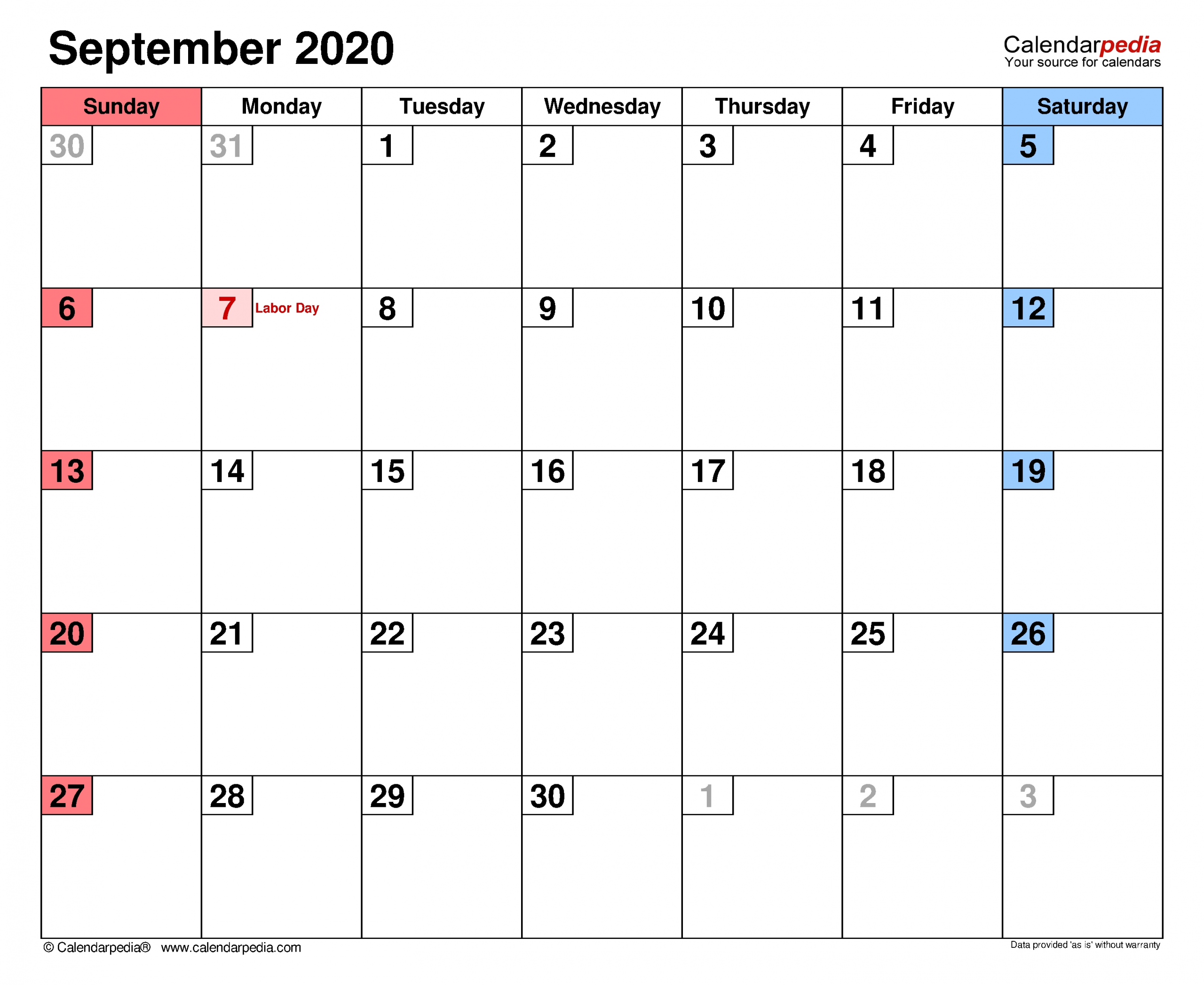 September 2020 Calendar | Templates For Word, Excel And Pdf for 2020 Calendar To Fill In