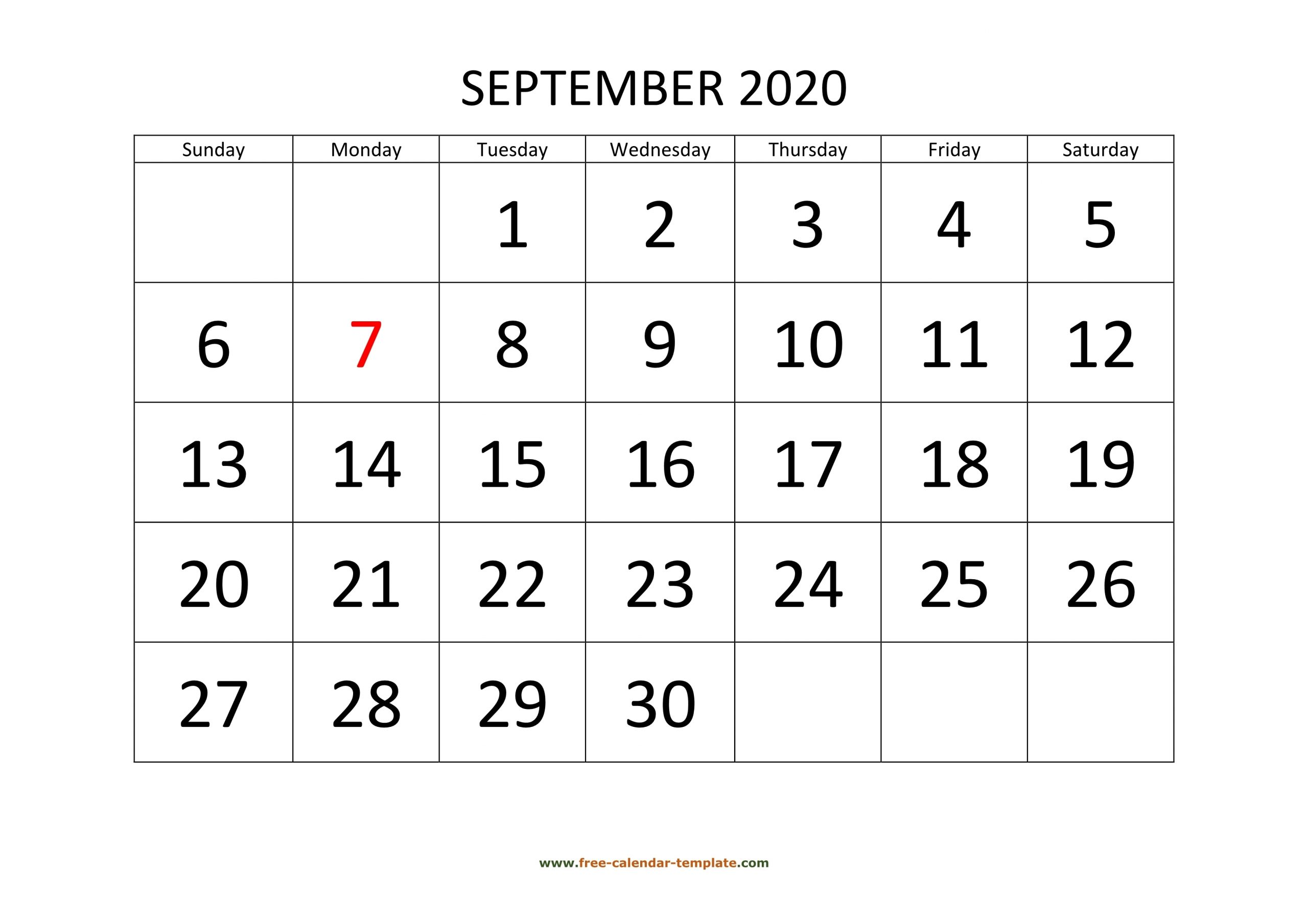 September 2020 Free Calendar Tempplate | Free-Calendar with Large Numbers Free Printable Calendar 2020