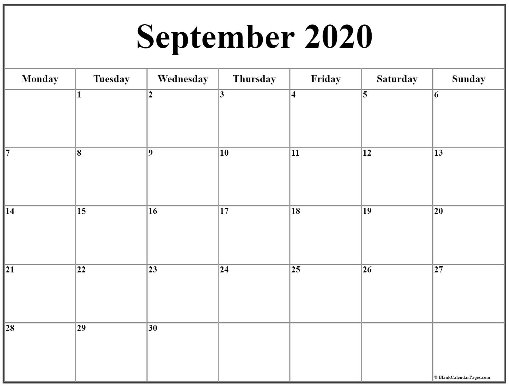 September 2020 Monday Calendar   Monday To Sunday inside 2020 Month Calendar Sunday Through Saturday