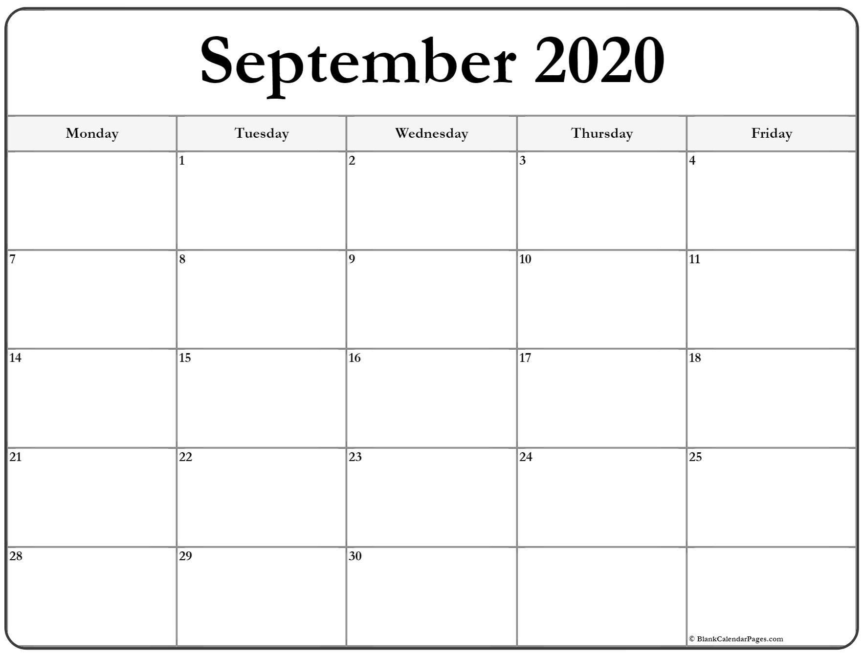 September 2020 Monday Calendar | Monday To Sunday regarding Weekly Calendar Monday Through Friday